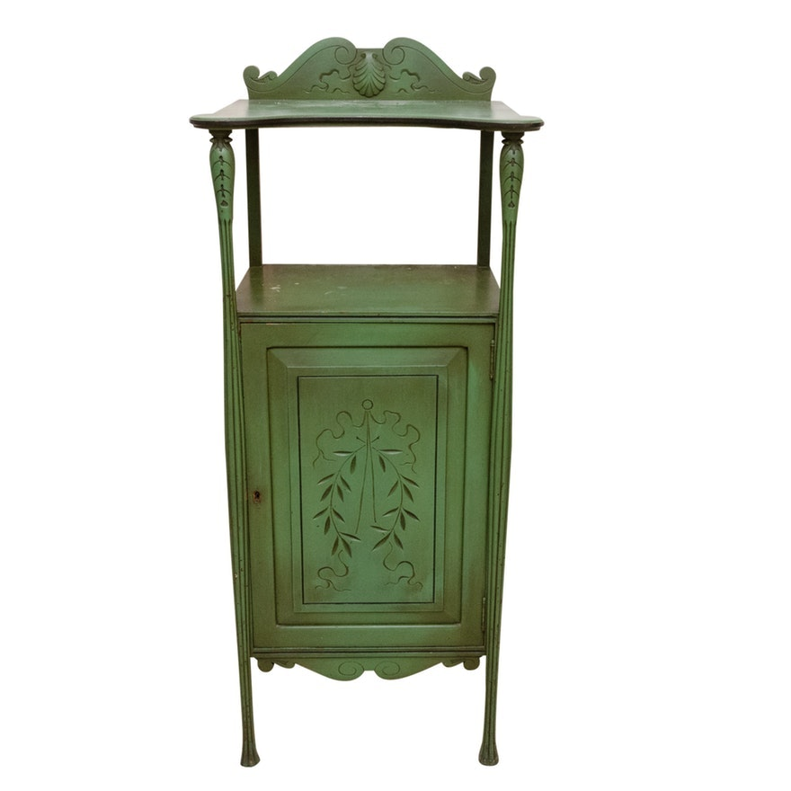 Carved Emerald Green Linen Cabinet