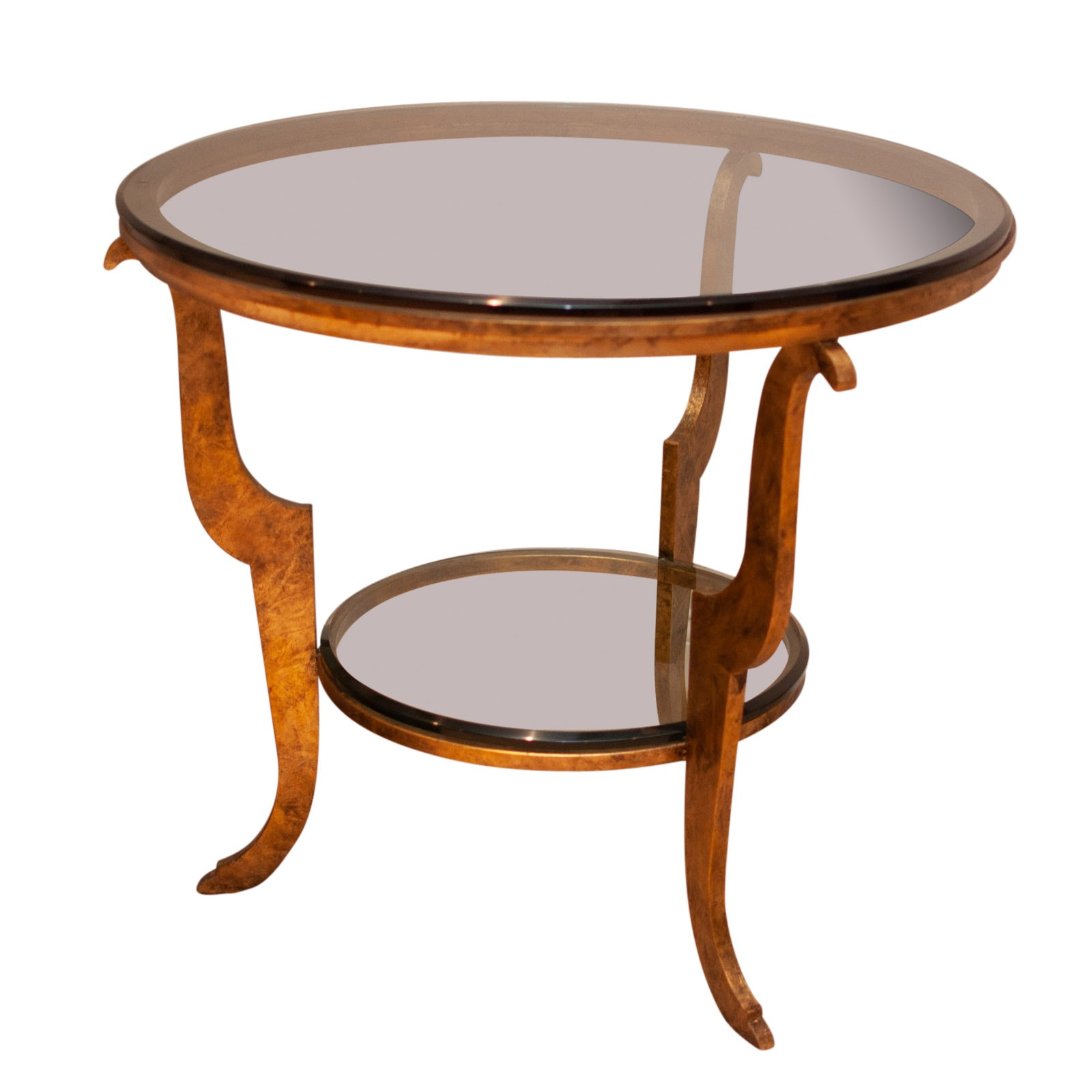 Contemporary Round Metal Side Table with Glass Top by Swaim Furniture