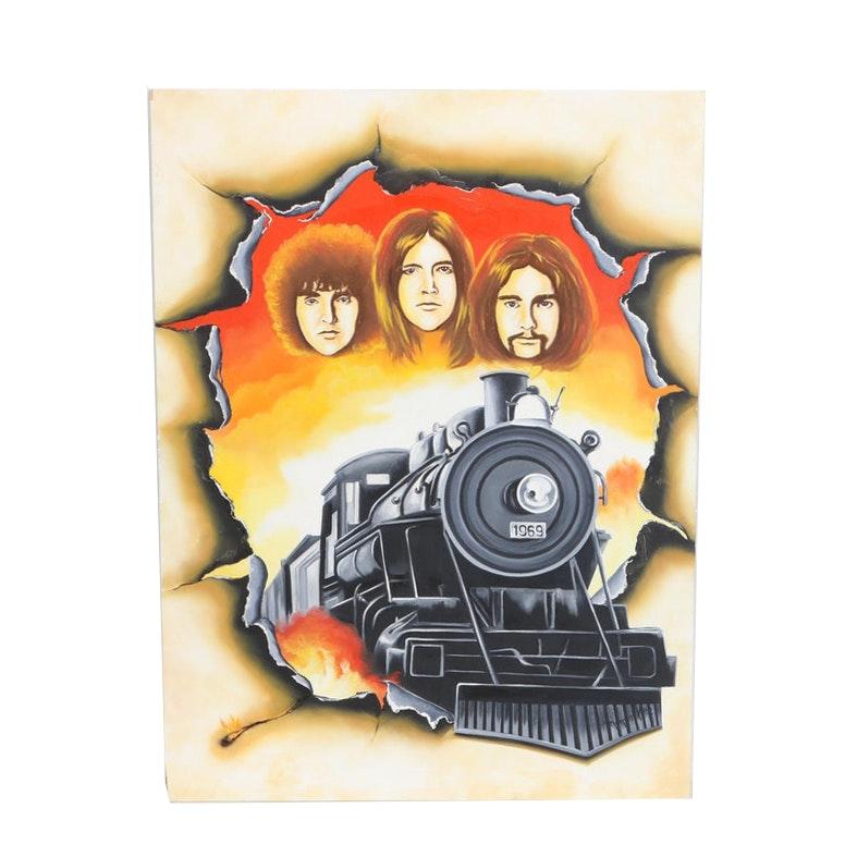 Hector Monroy (Monrock) 2003 Pink Floyd Oil Painting on Board