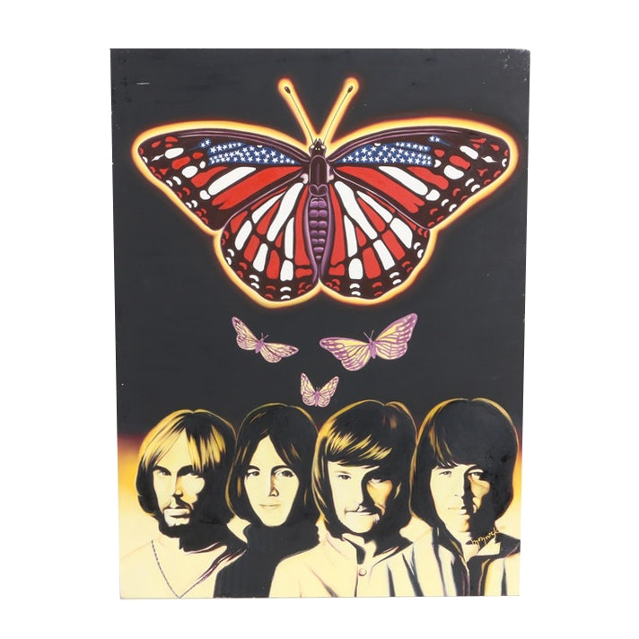 Hector Monroy (Monrock) 2003 Iron Butterfly Oil Painting on Board