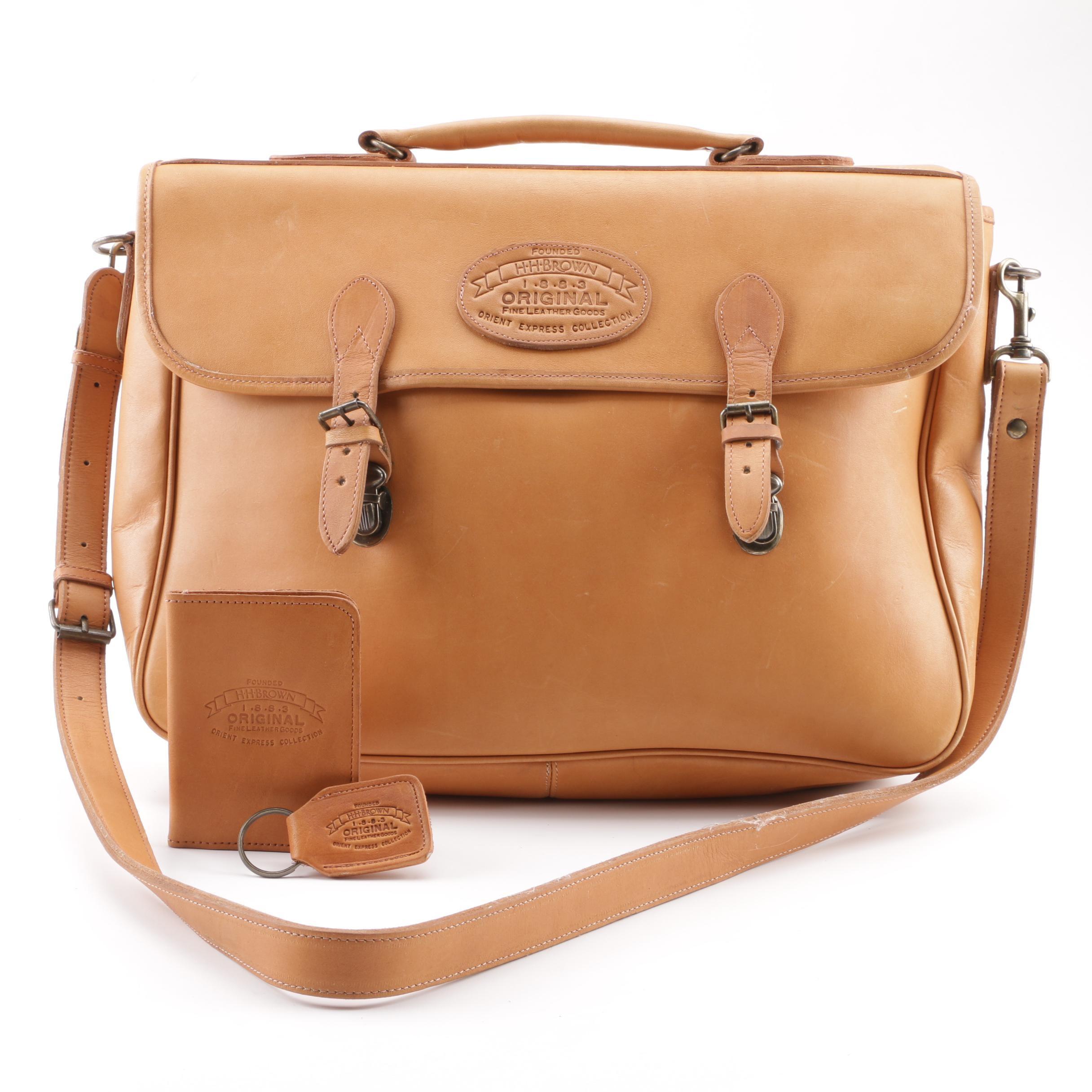Vintage H.H.Brown Original Fine Leather Goods Messenger Bag, ID Case, Key Chain