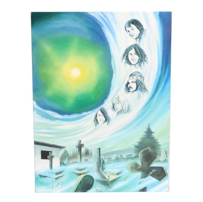 Hector Monroy (Monrock) 2002 Grateful Dead Oil Painting on Board