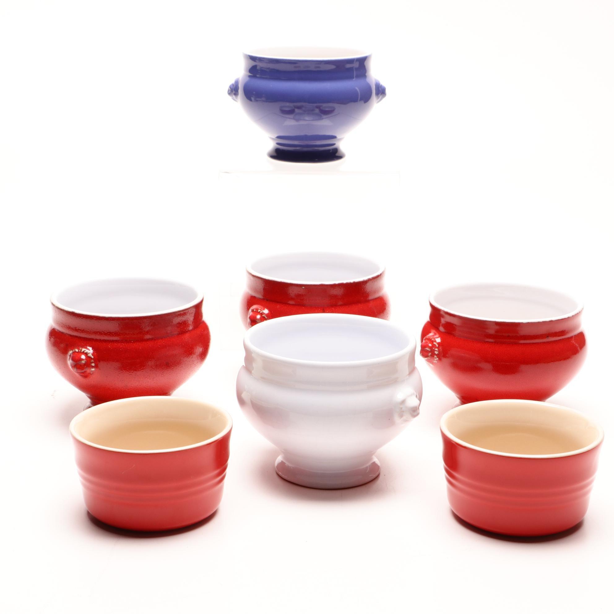 Le Creuset Ramekins and Emile Henry Lion Head Soup Bowls