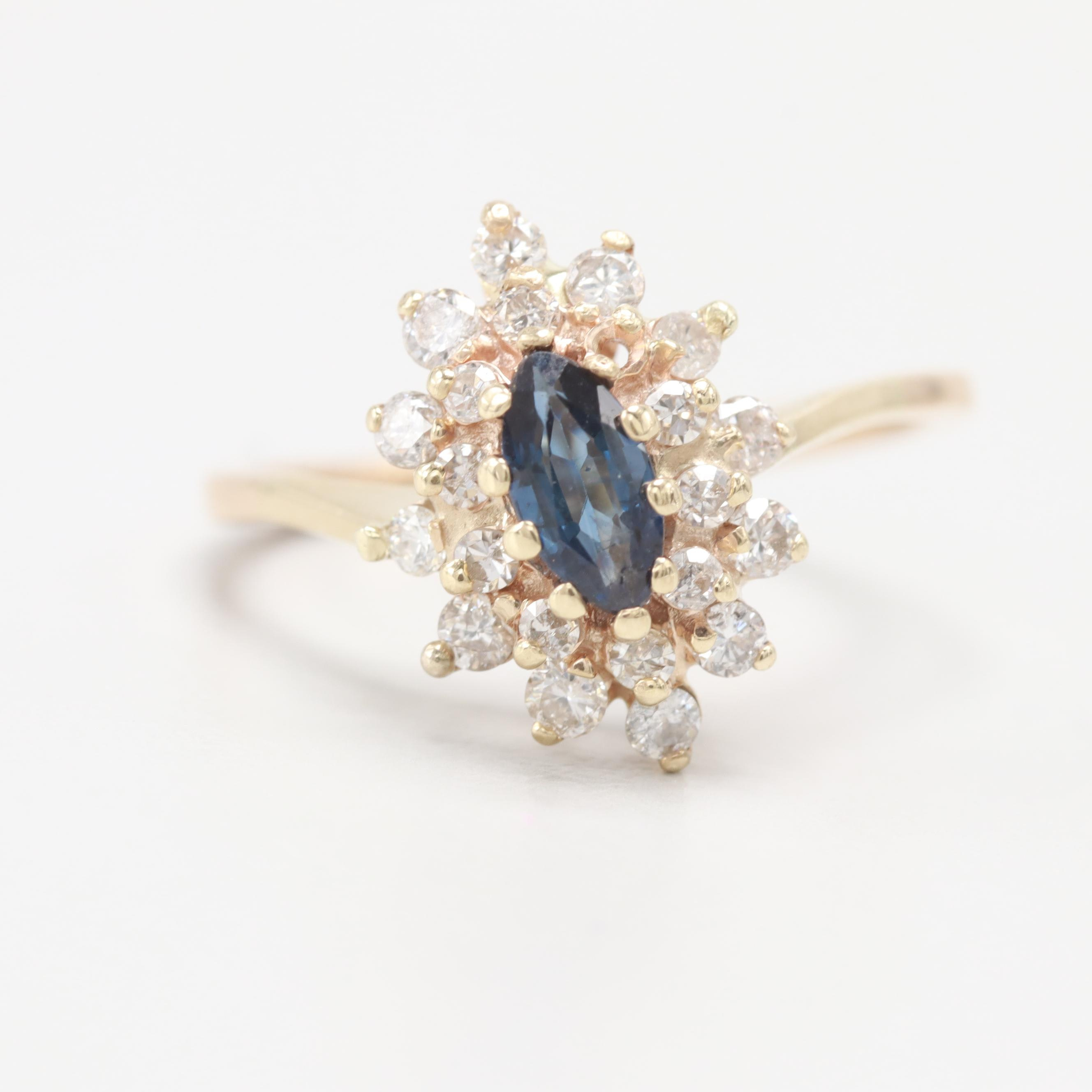 10K Yellow Gold Blue Sapphire Marquise and Diamond Cluster Ring