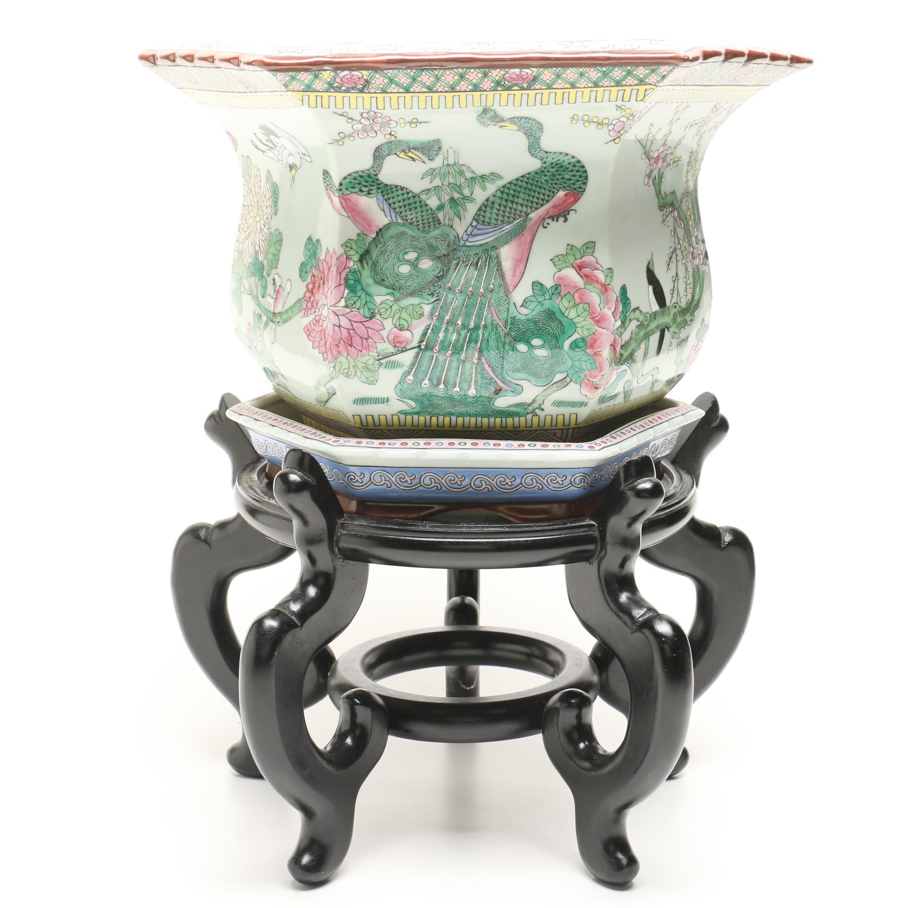Chinese Ceramic Painted Planter with Drip Dish and Stand