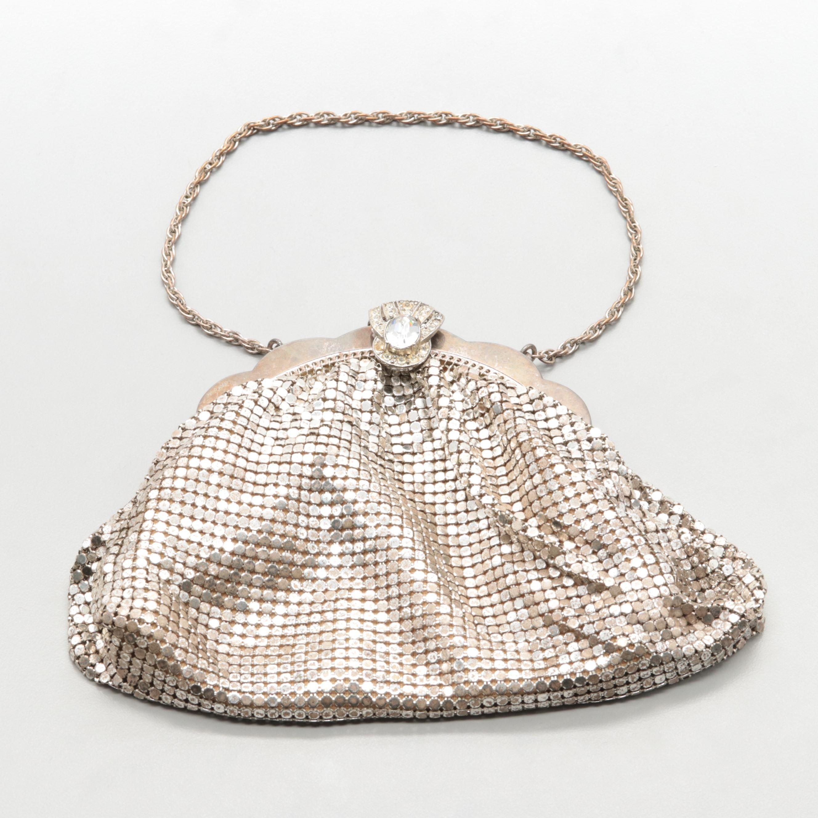 Vintage Whiting and Davis Silver Tone Mesh Evening Bag with Foil Back Glass