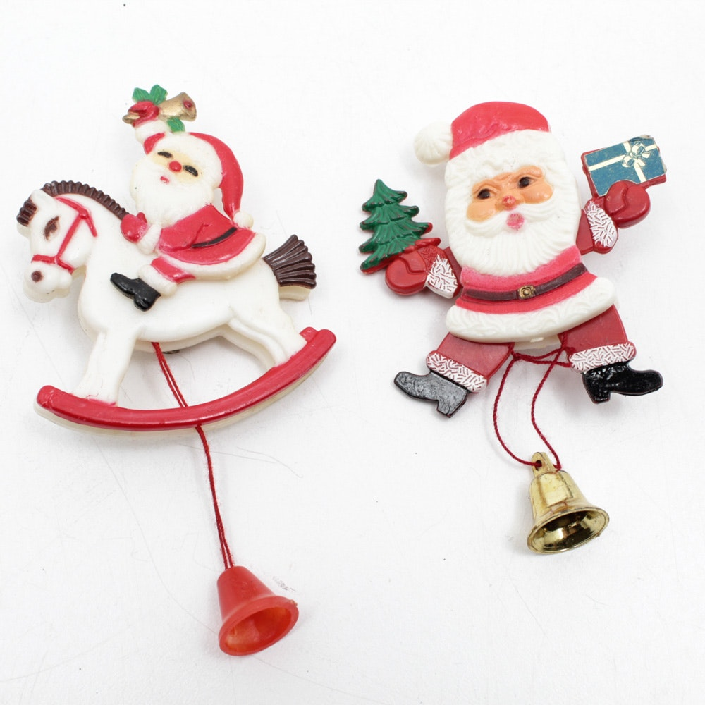 Two Vintage Santa Brooches with Pull Strings