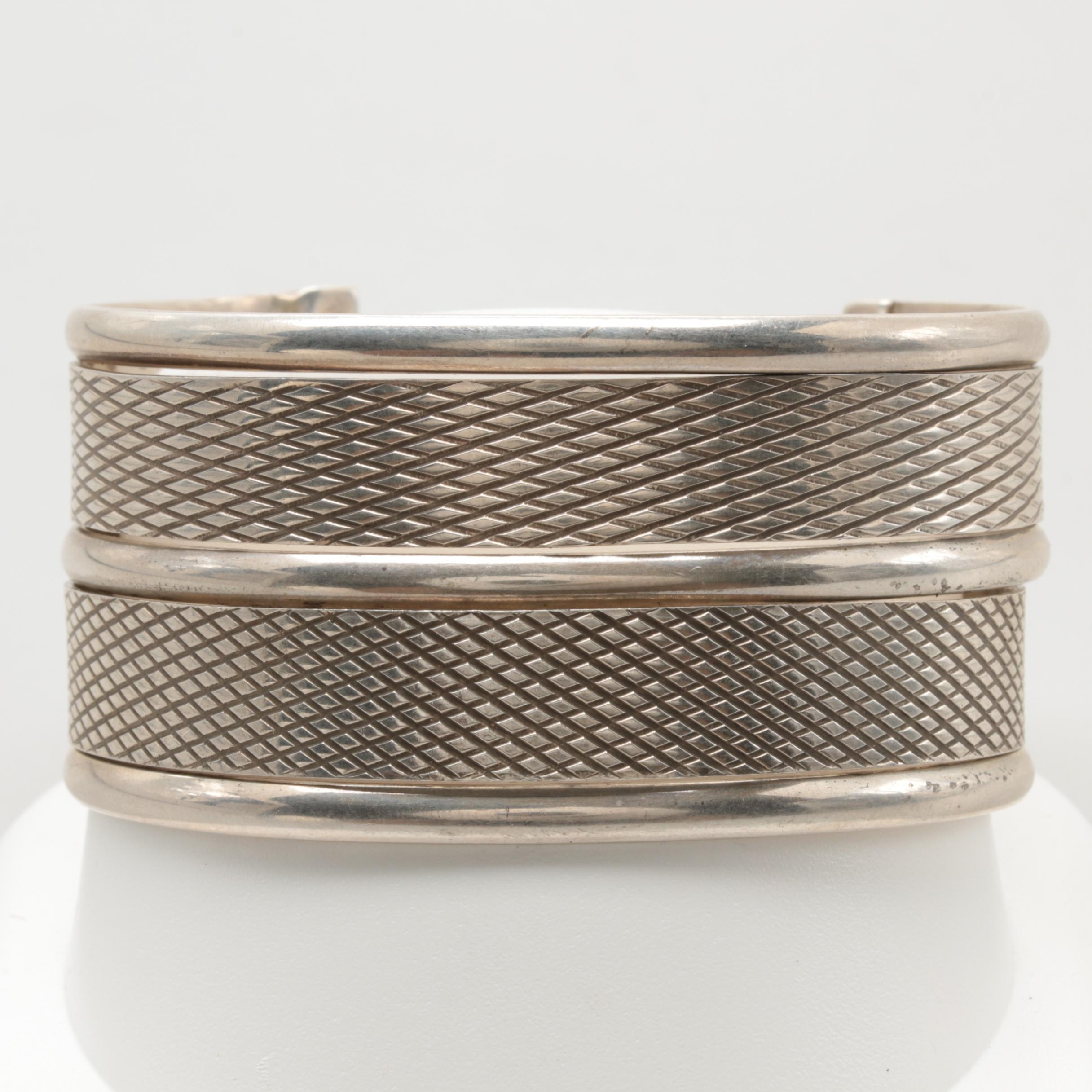Mexican Sterling Silver Textured Cuff Bracelet