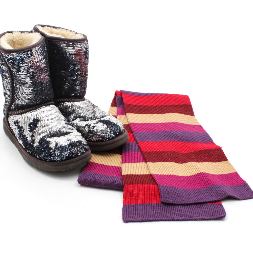 Women's UGG Australia Classic Short Sparkle Boots and Striped Knit Scarf