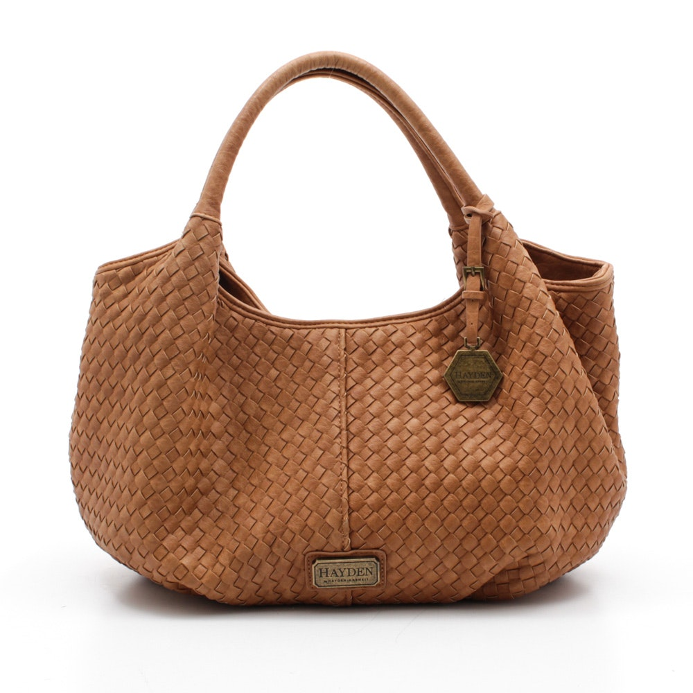 Hayden Harnett Woven Tan Leather Hobo Bag
