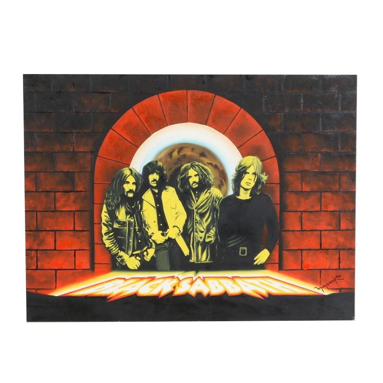 Hector Monroy (Monrock) 2002 Black Sabbath Oil Painting on Board
