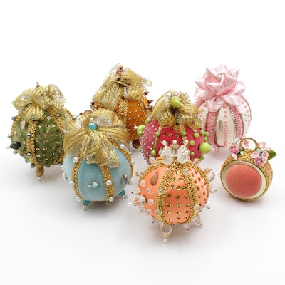 Victorian Style Bead and Sequin Fabric Christmas Ornaments