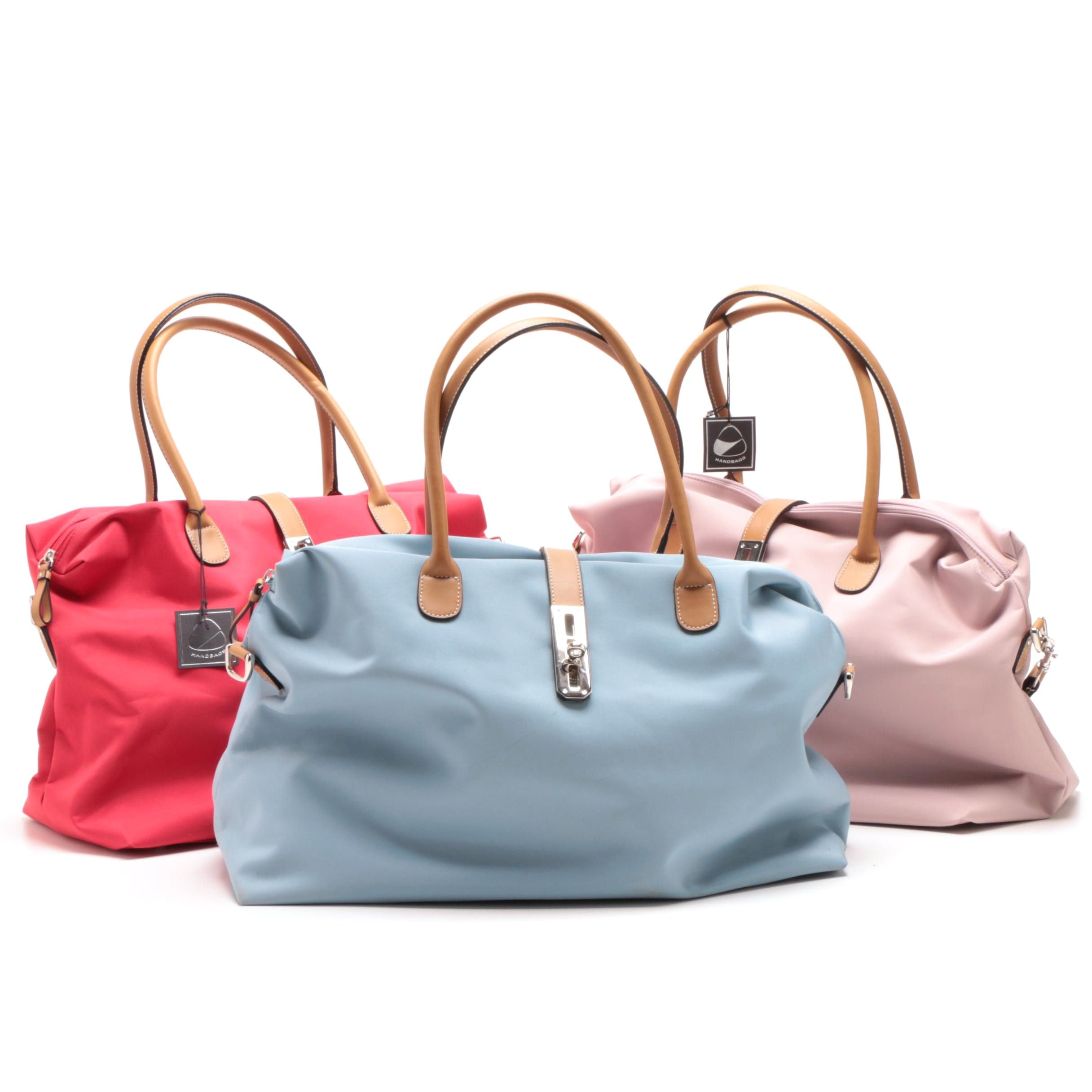 Red, Blue and Pink Nylon Tote Bags with Detachable Shoulder Straps