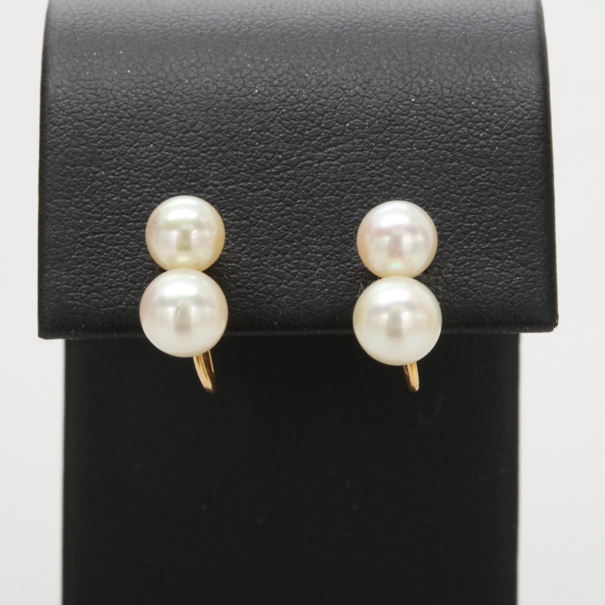 10K Yellow Gold Cultured Pearl Earrings