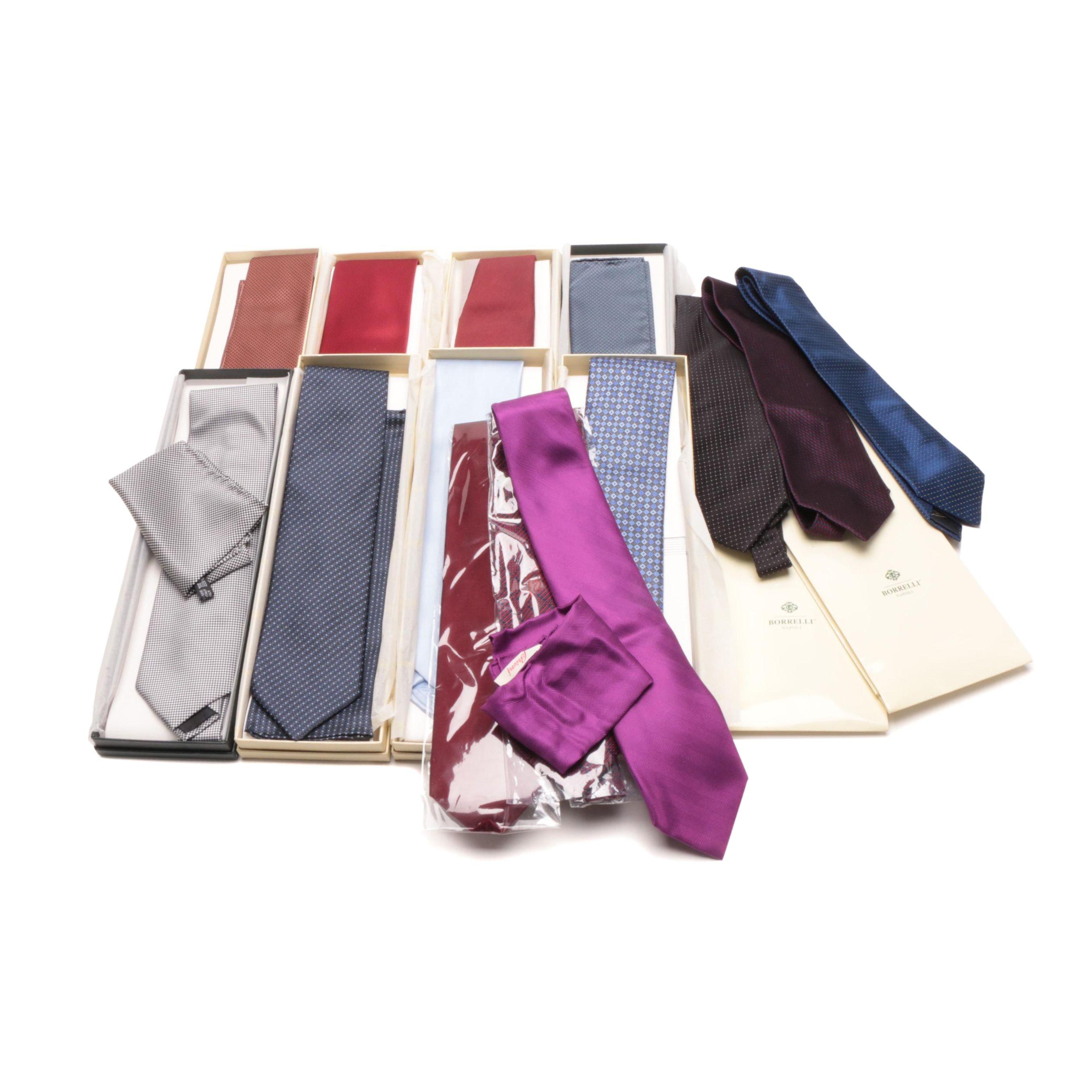 Men's Silk Neckties and Pocket Squares including Brioni and Borrelli