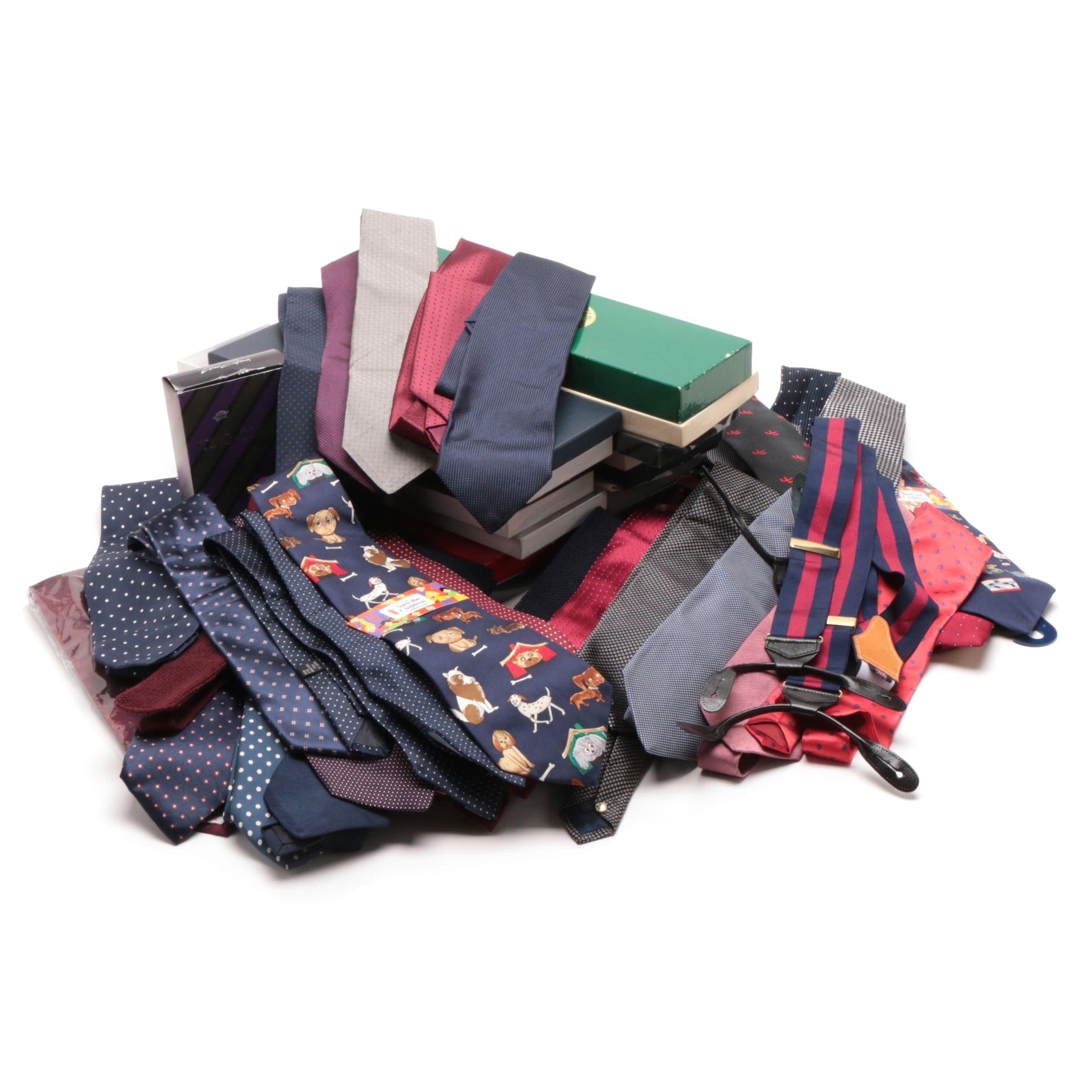 Men's Cotton and Silk Neckties and Suspenders including Paul Stuart