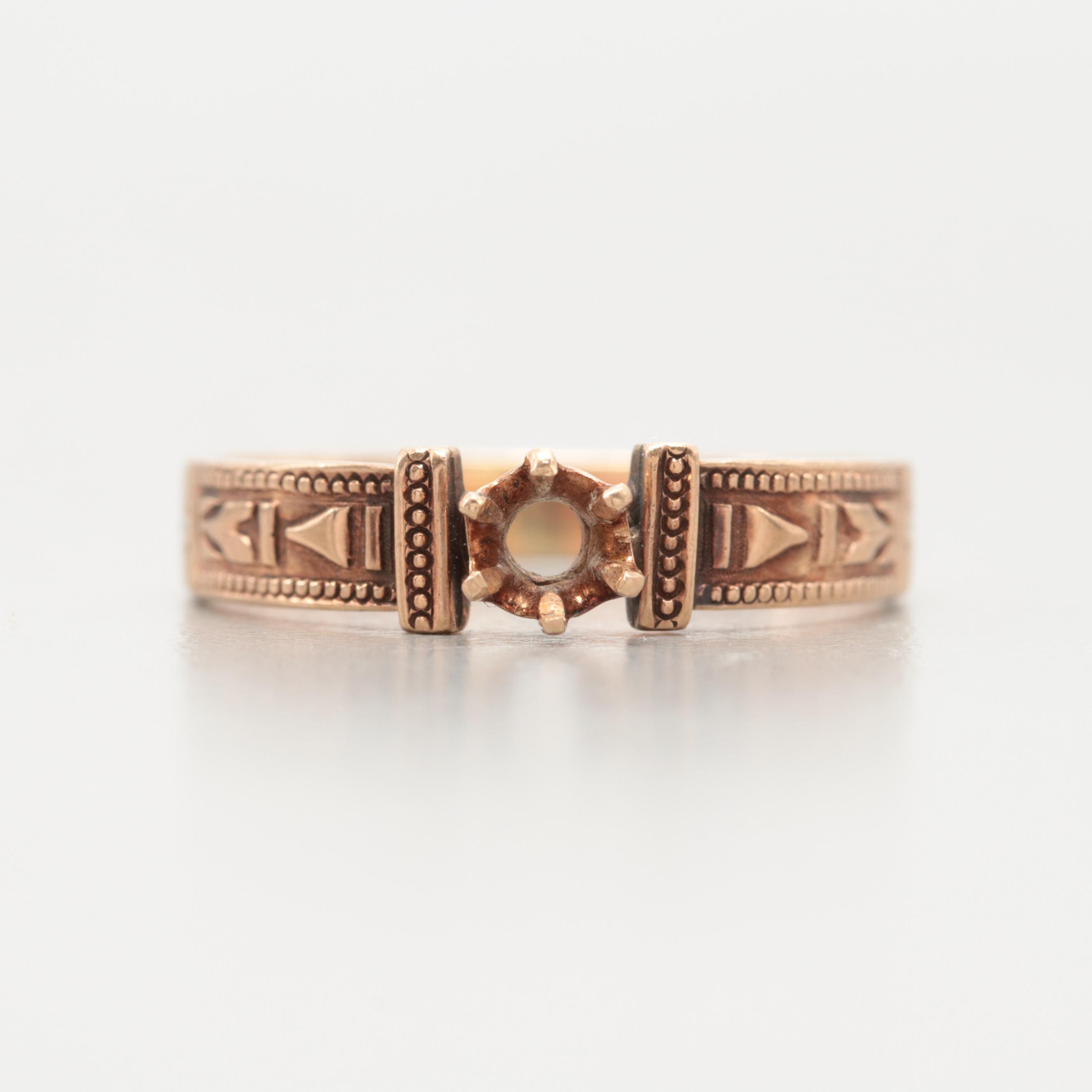 Victorian  10K Yellow Gold Engraved Semi Mount Ring