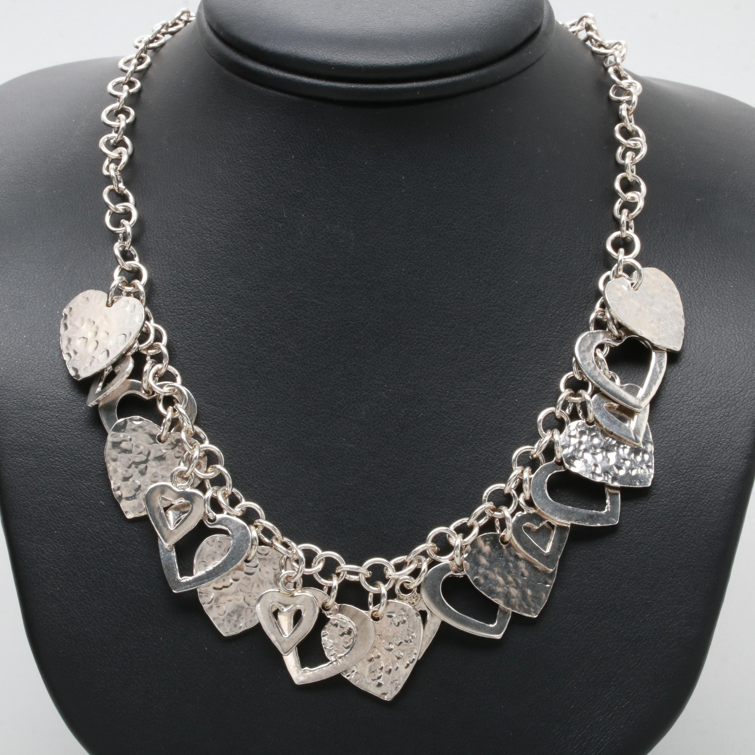 Sterling Silver Multi Full and Cut-Out Heart Necklace