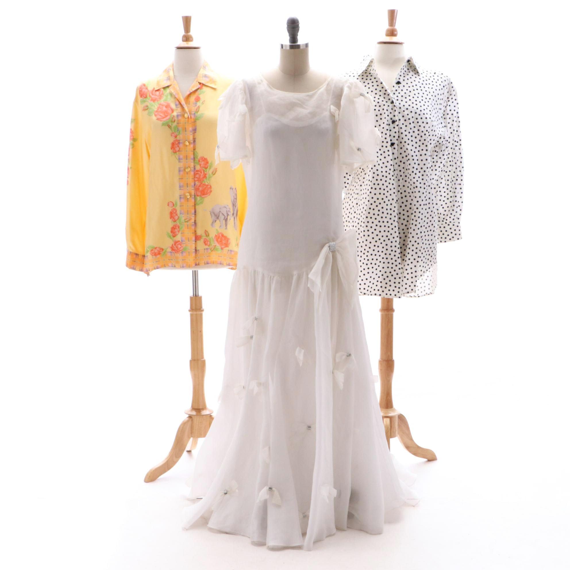 Bill Blass and Escada Shirts and an Unlabeled Formal Dress