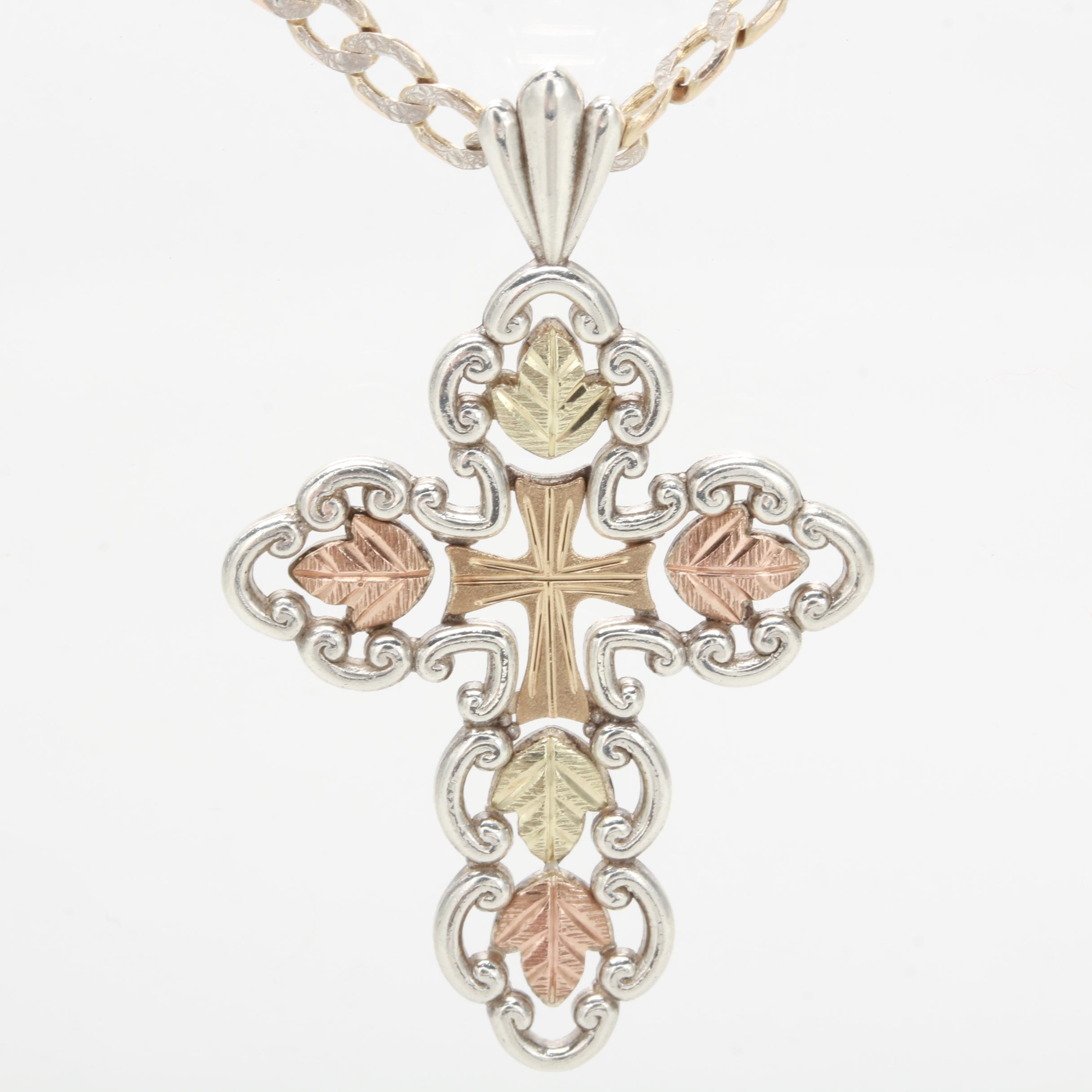 Sterling Silver Cross with Rose & Yellow Gold Wash Necklace