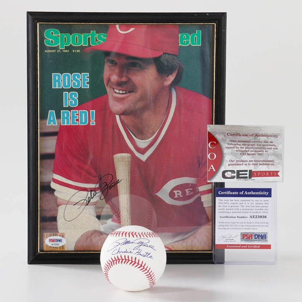 """Pete Rose Autographed 1984 """"Sports Illustrated"""" with COA/PSA and Baseball"""