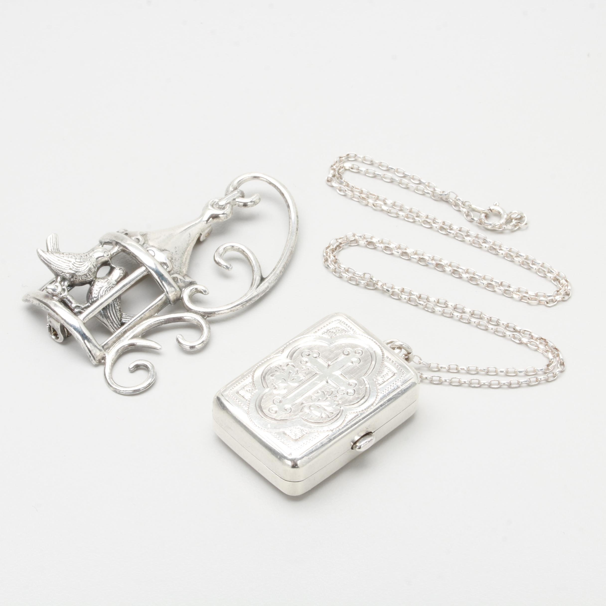 Sterling Silver Pillbox Pendant Necklace and Brooch