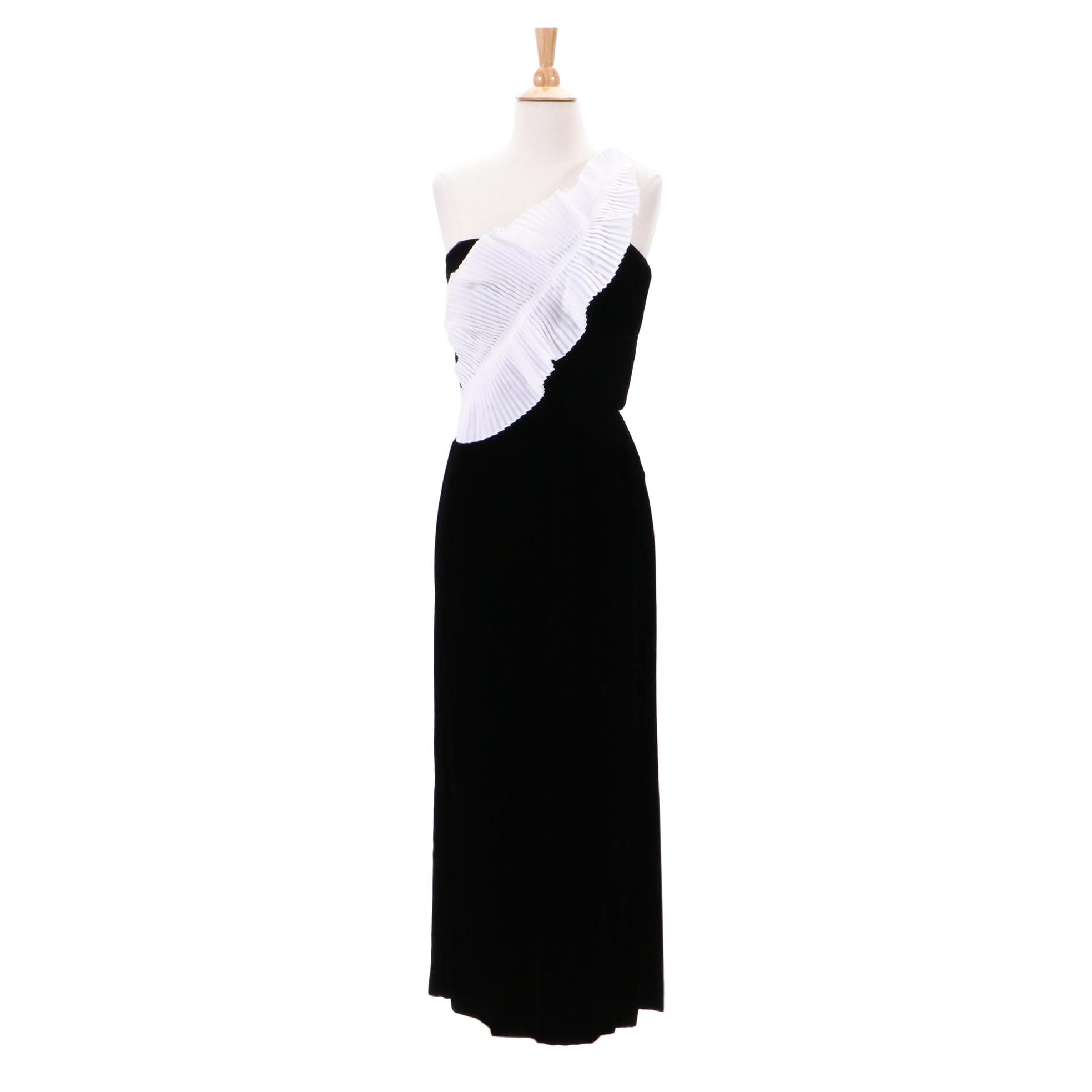 Vintage Victor Costa Black Velvet One-Shoulder Evening Dress from Gidding Jenny