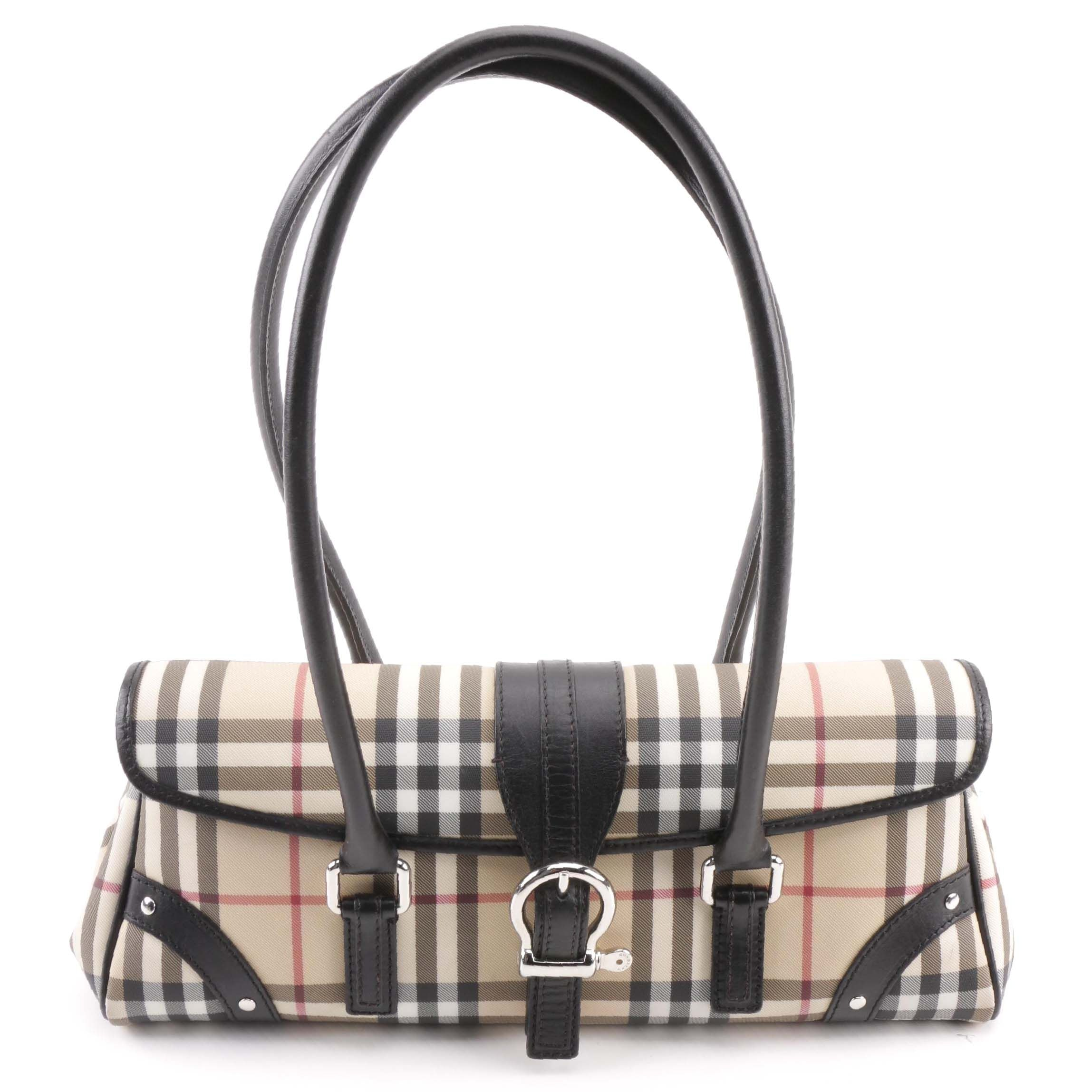 "Burberry London ""Nova Check"" Canvas Handbag"