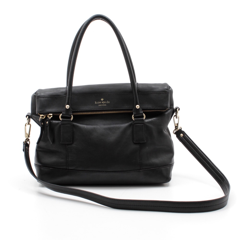 Kate Spade New York Black Foldover Leather Satchel