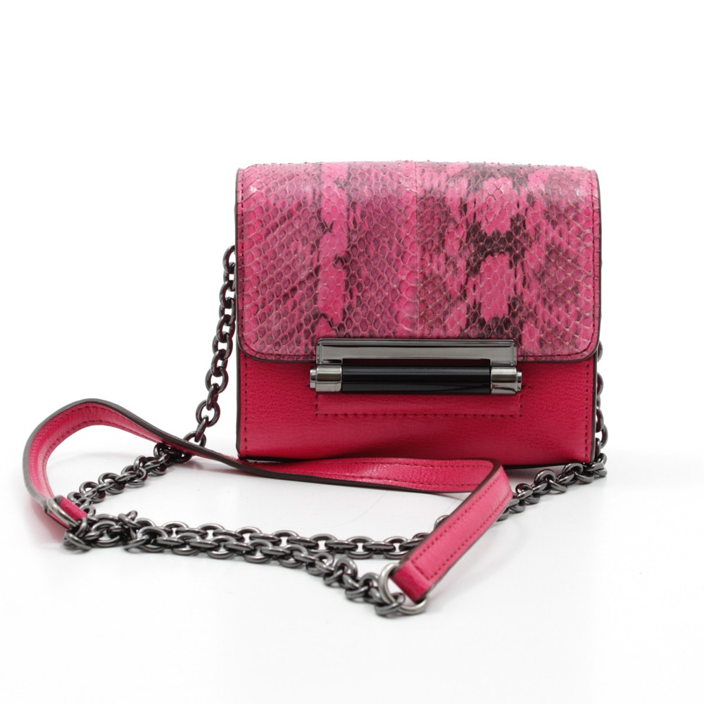 Diane von Furstenberg Dyed Python Skin and Pink Leather Mini Shoulder Bag