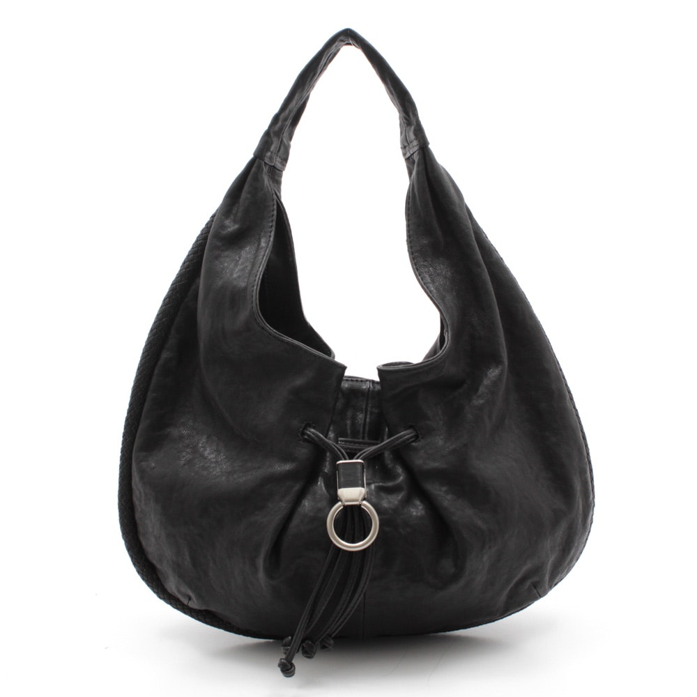 Cole Haan Black Leather Hobo Bag with Braided Leather Trim
