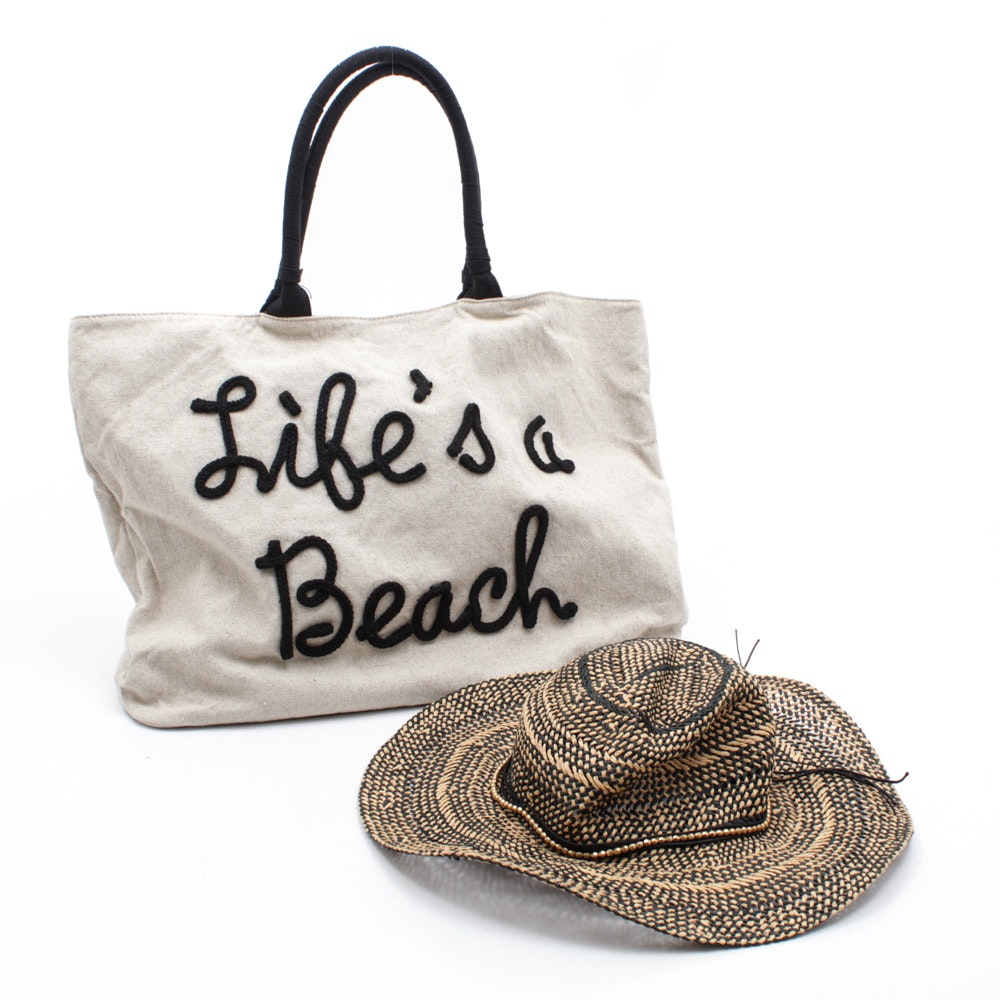 """Life is a Beach"" Canvas Tote and Woven Beach Hat"