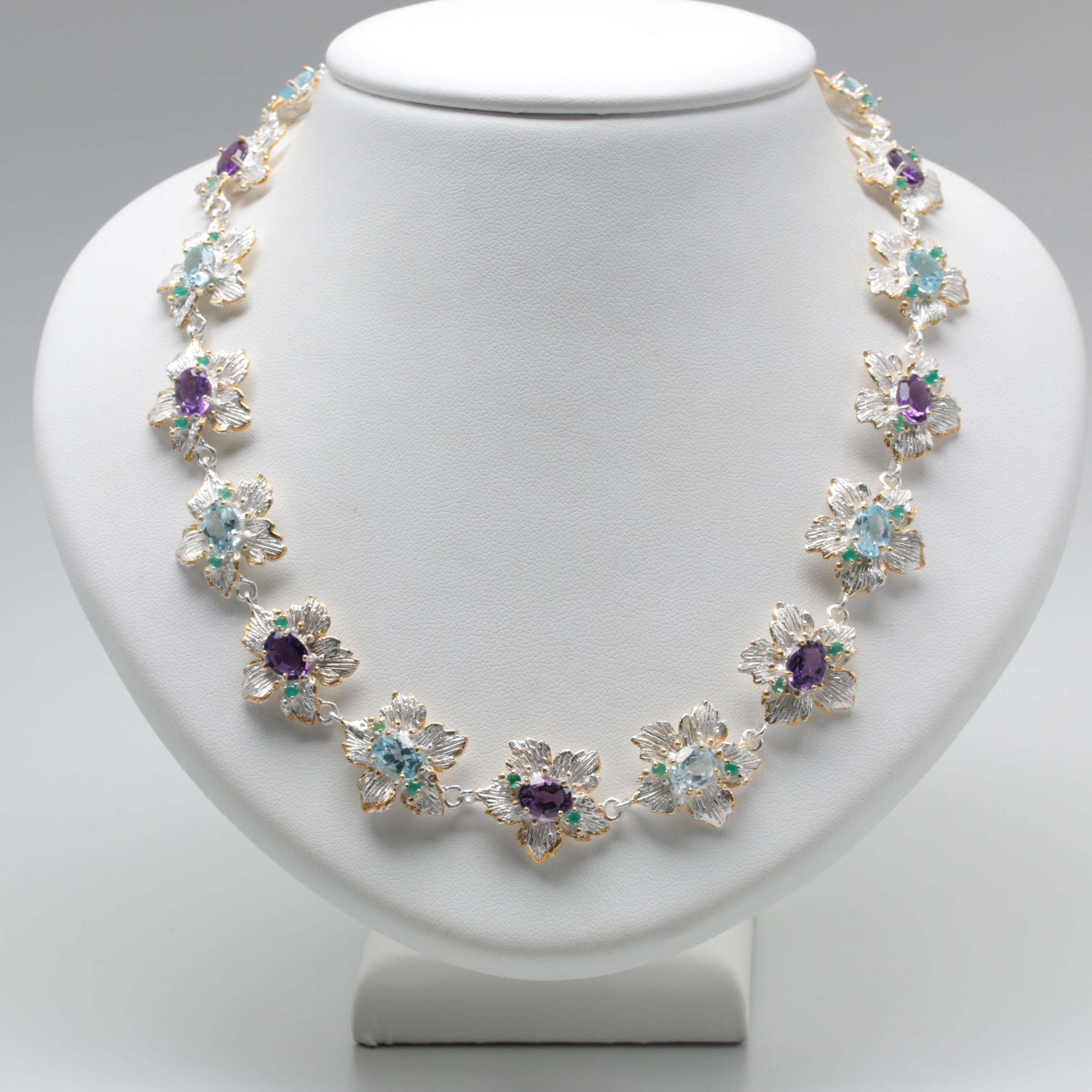Sterling Silver Blue Topaz, Amethyst Necklace