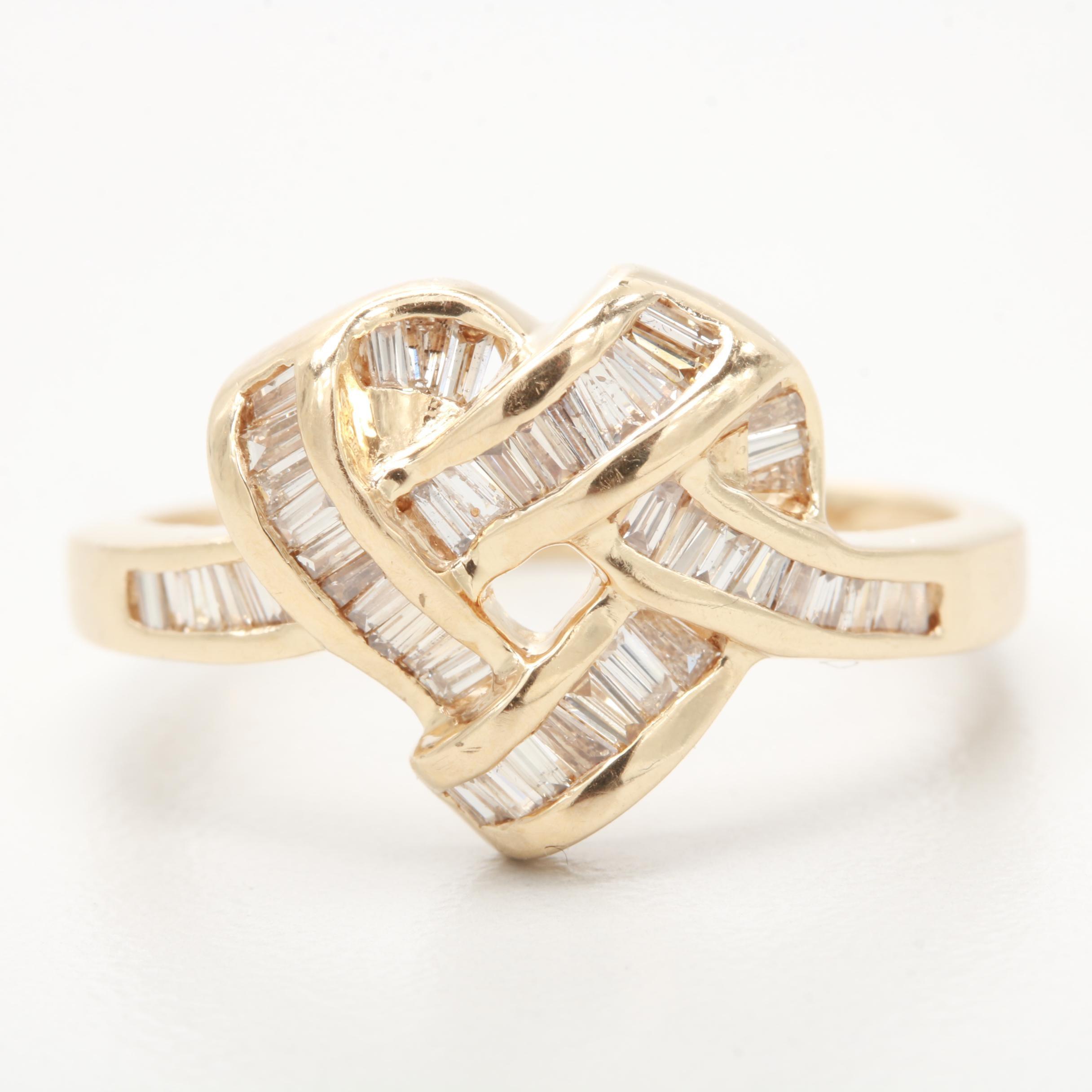 14K Yellow Gold Heart Motif Diamond Ring