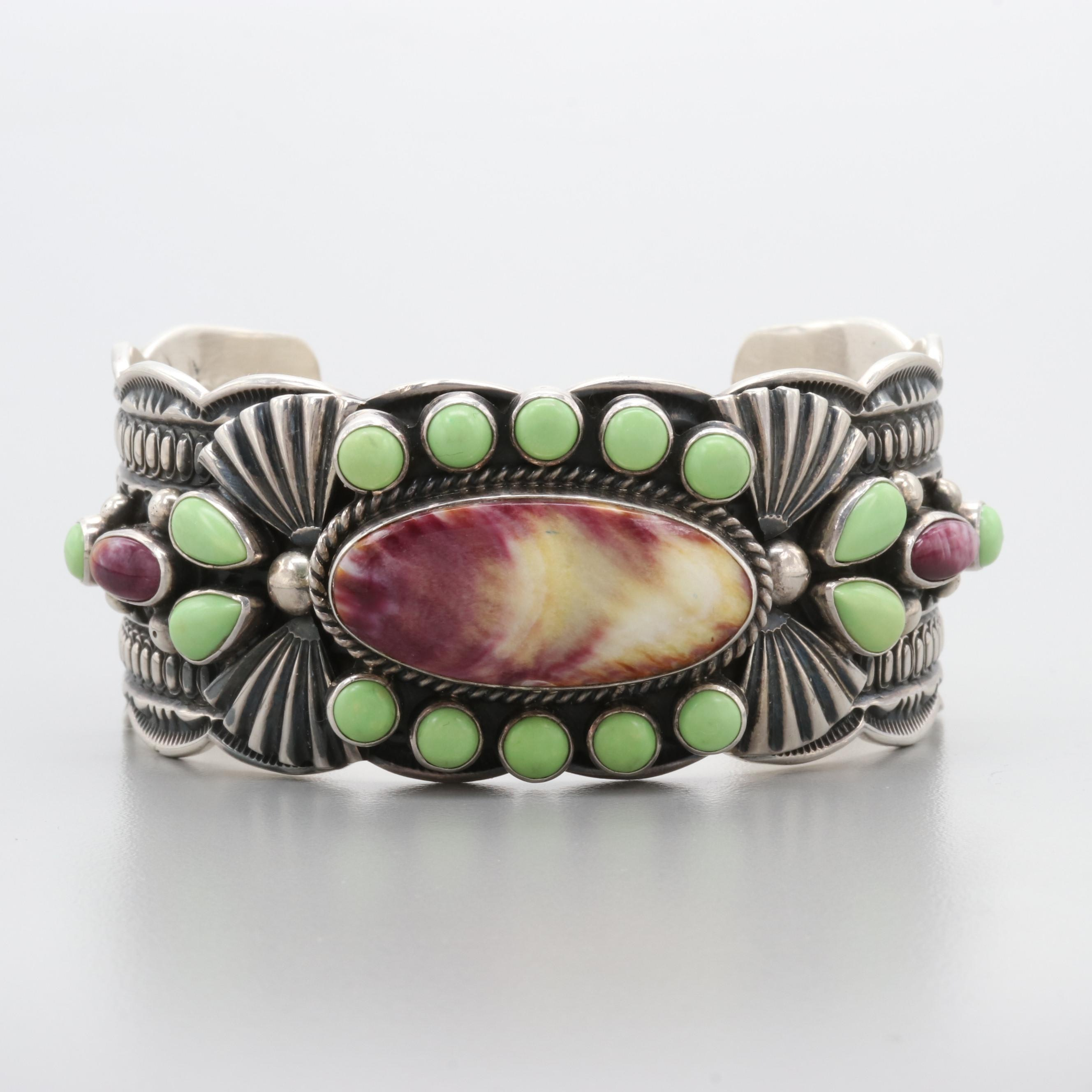 Delbert Gordon Navajo Diné Sterling Silver Spiny Oyster and Magnesite Cuff