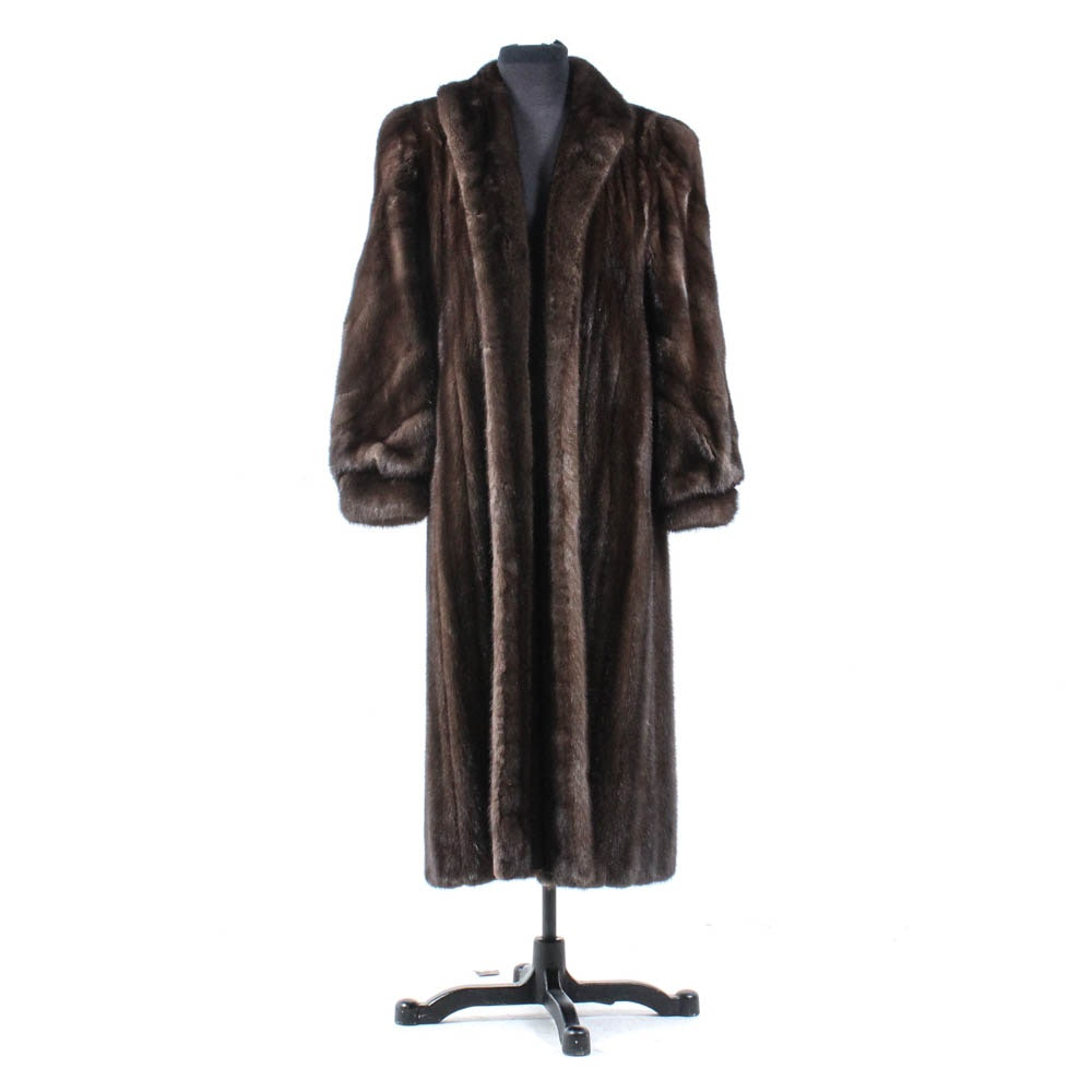 Chestnut Mink Fur Coat with Bracelet Cuffs