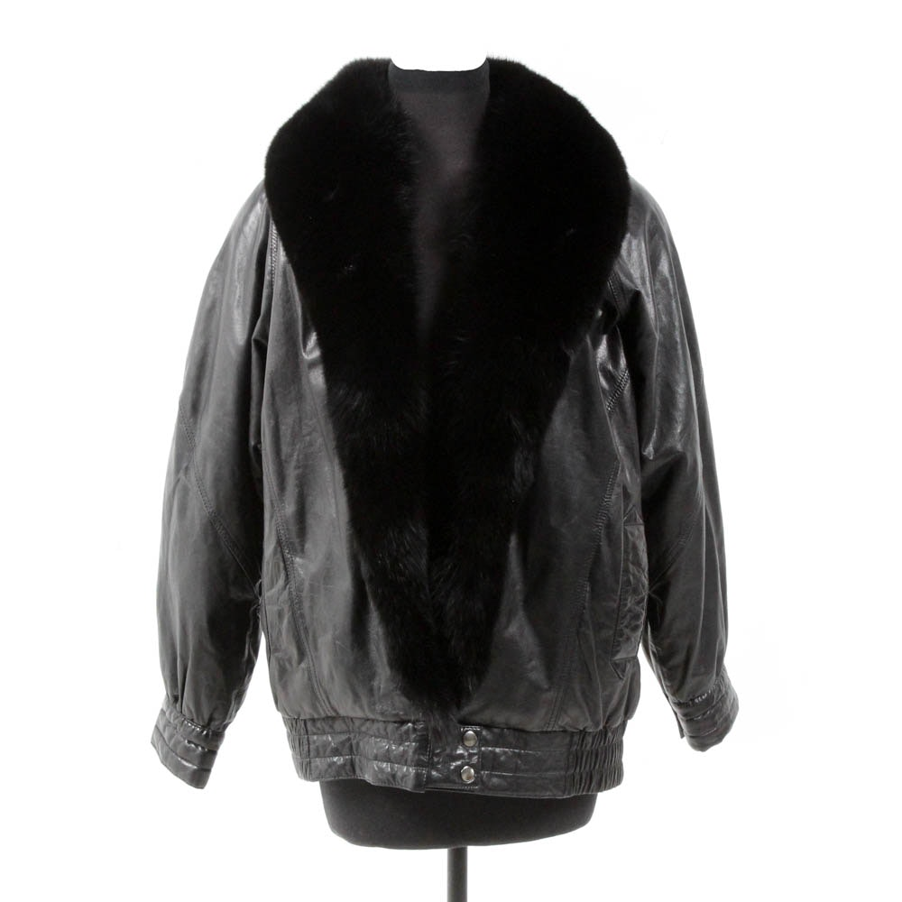 Soft Black Leather and Fox Fur Jacket