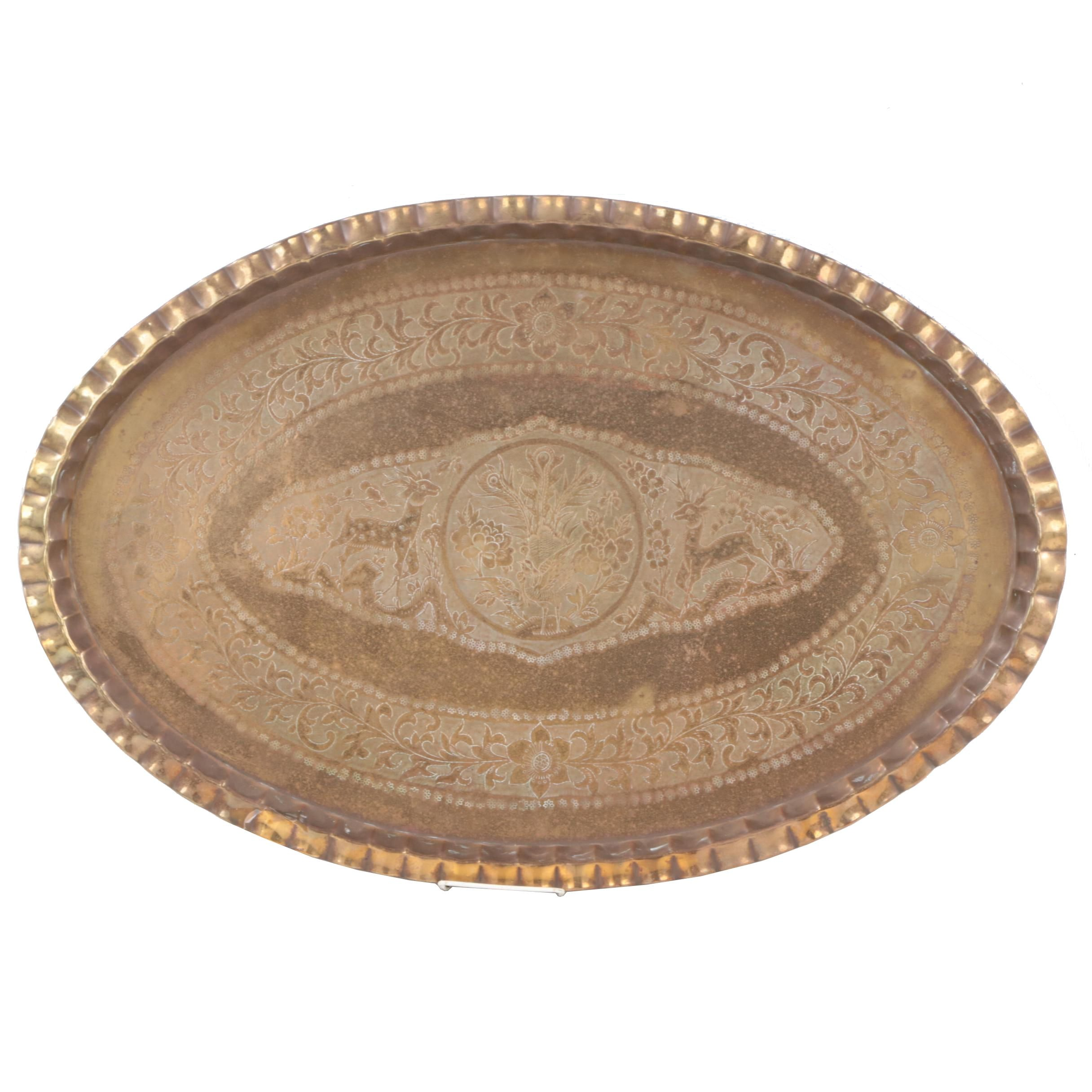 Chinese Etched Brass Tray with Flora and Fauna Motif