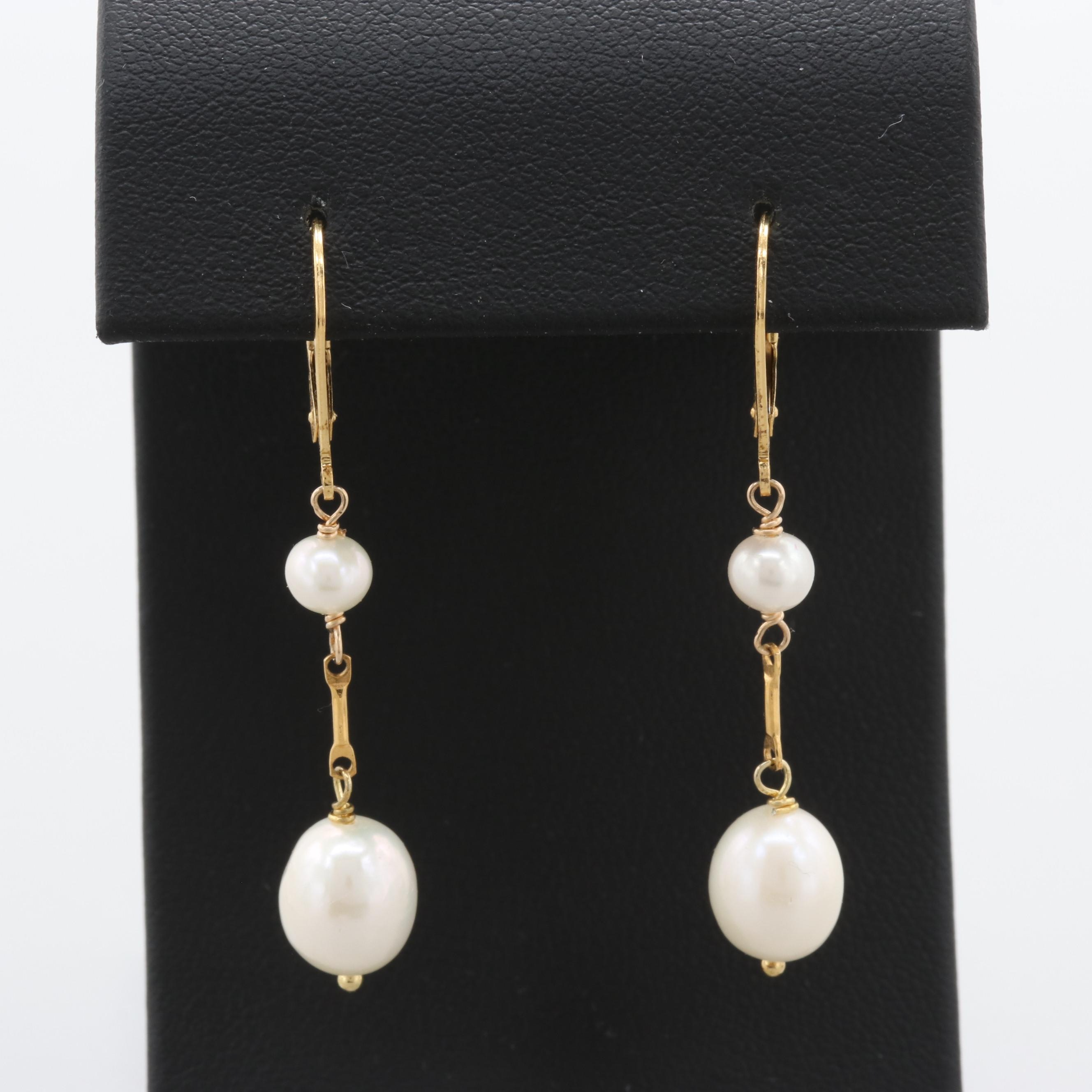 Gold Wash on Sterling Silver Cultured Pearl Earrings