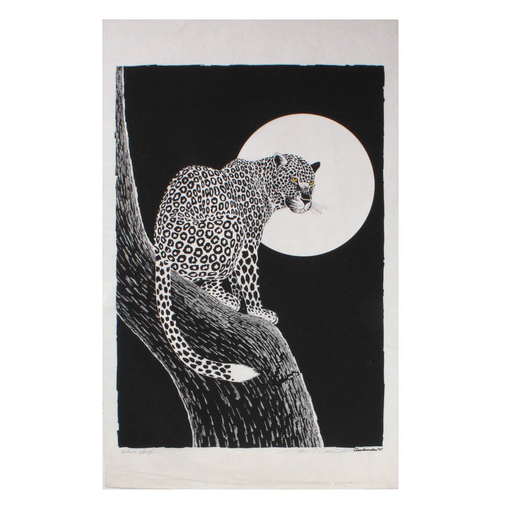 Vintage Large-Scale Woodblock Print of Leopard