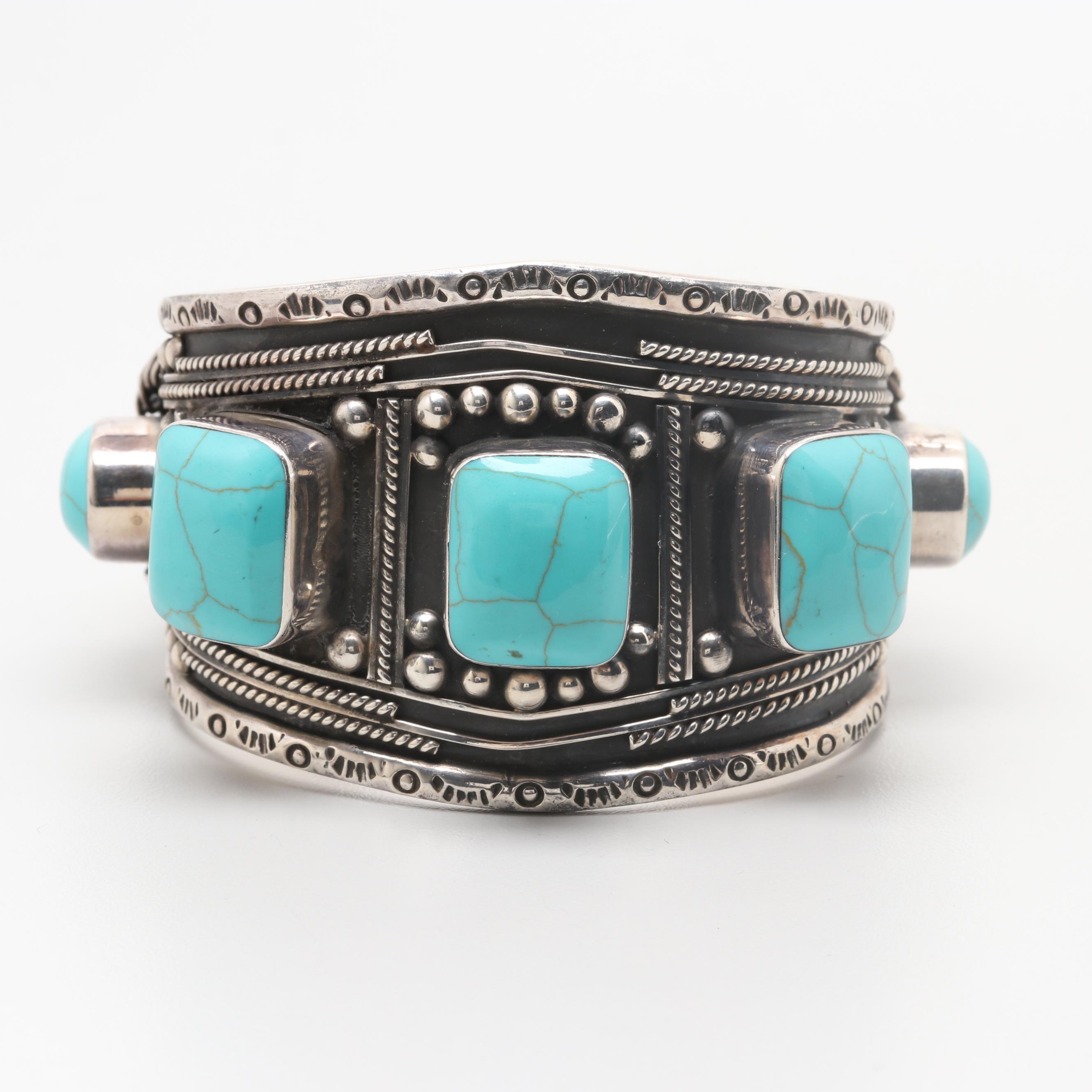 Mexico Esperanza Reconstituted Turquoise Cuff Bracelet