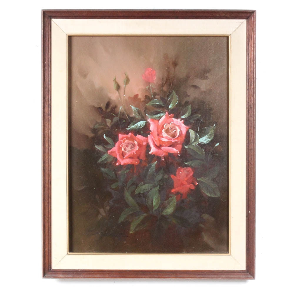 S. Busdee Oil Painting of Floral Still Life