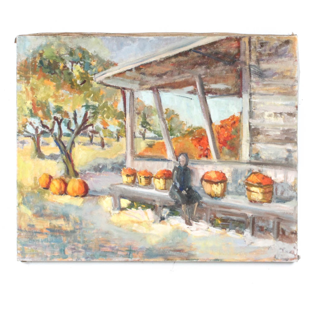 Vintage Leah Frandzel Oil Painting of Autumn Harvest