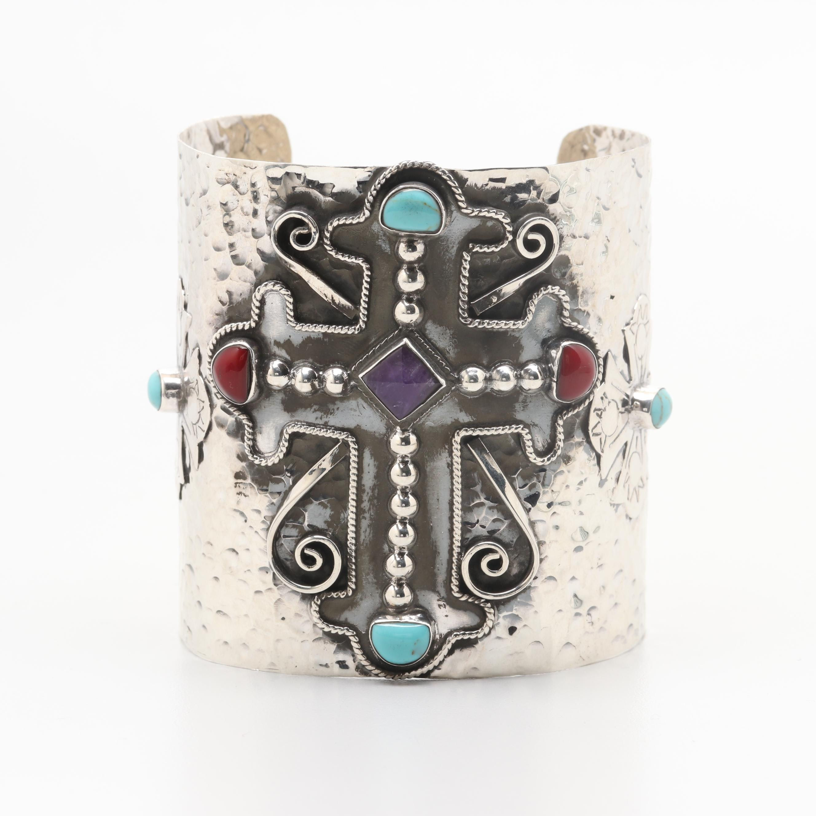 Mexican Sterling Silver Hammered Amethyst, Howlite Cuff with Cross Motif
