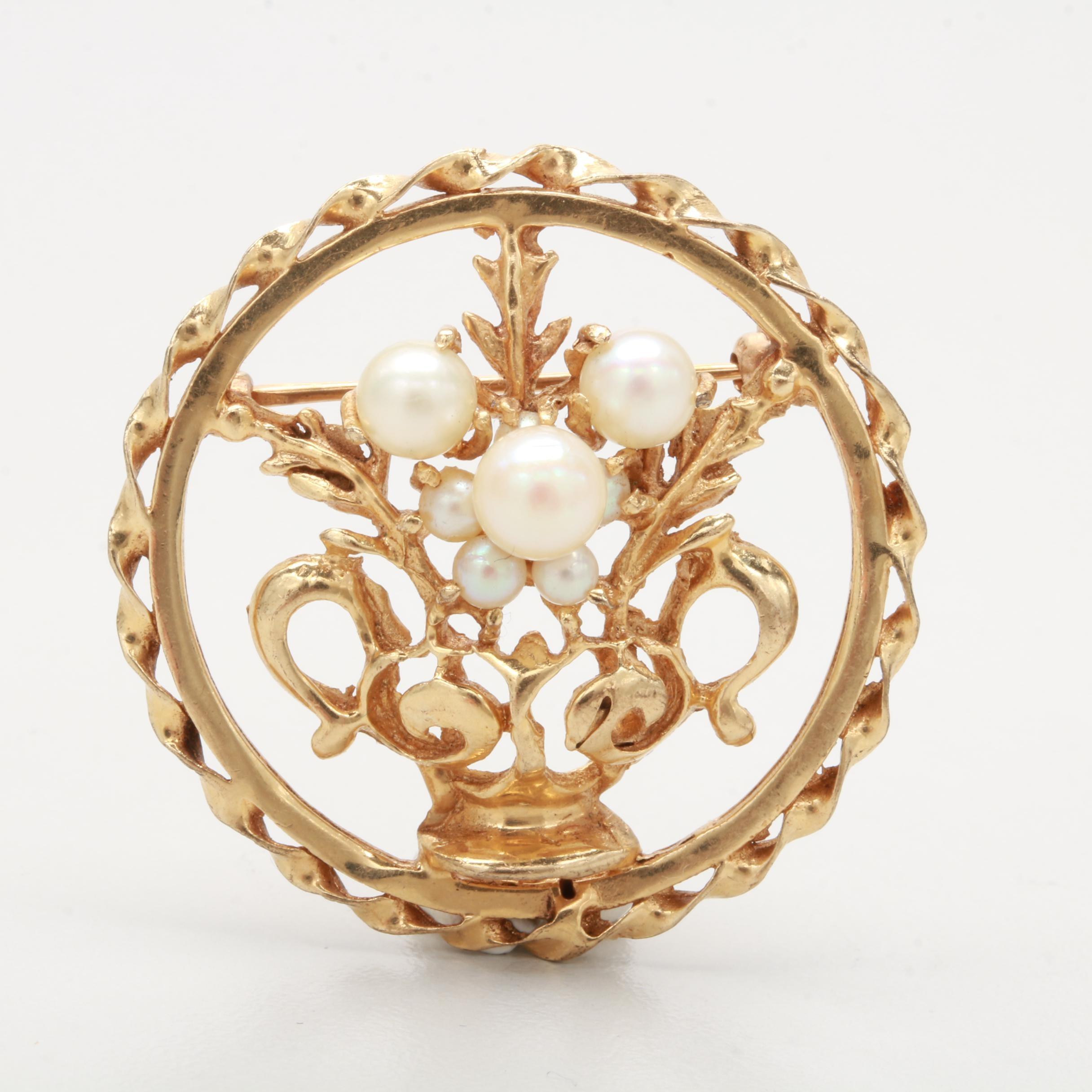 Vintage 14K Yellow Gold Cultured Pearl Flower Basket Motif Converter Brooch