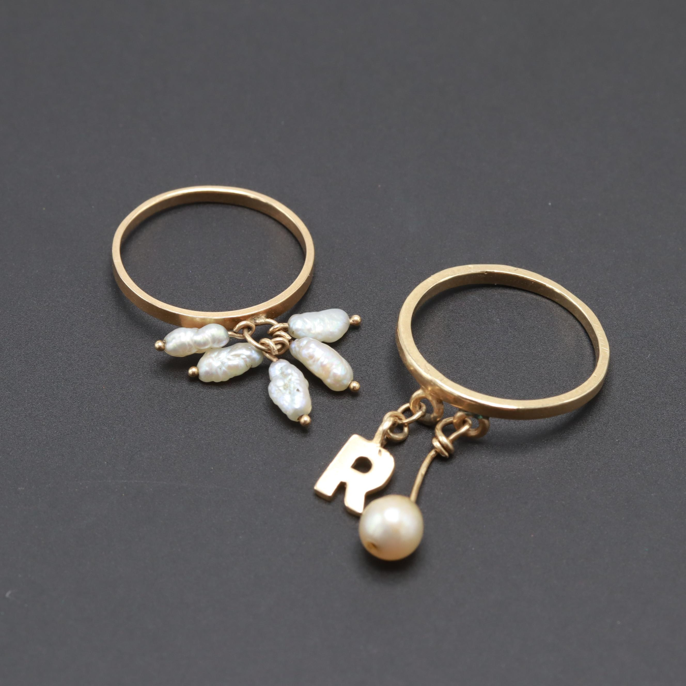 14K Yellow Gold Cultured Pearl Rings