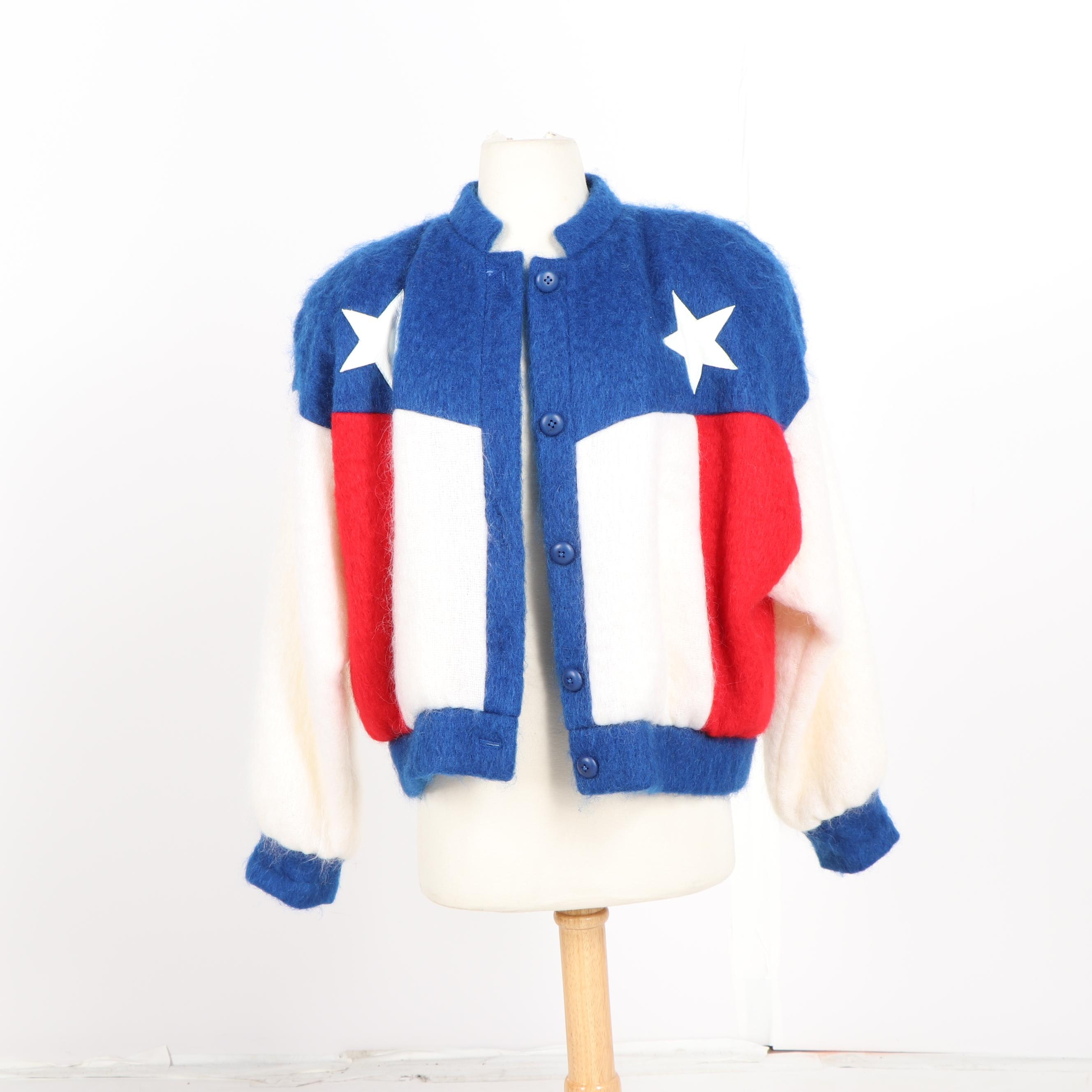 Women's Vintage Dolores' Unique Designs Flag of Texas Mohair Blend Jacket