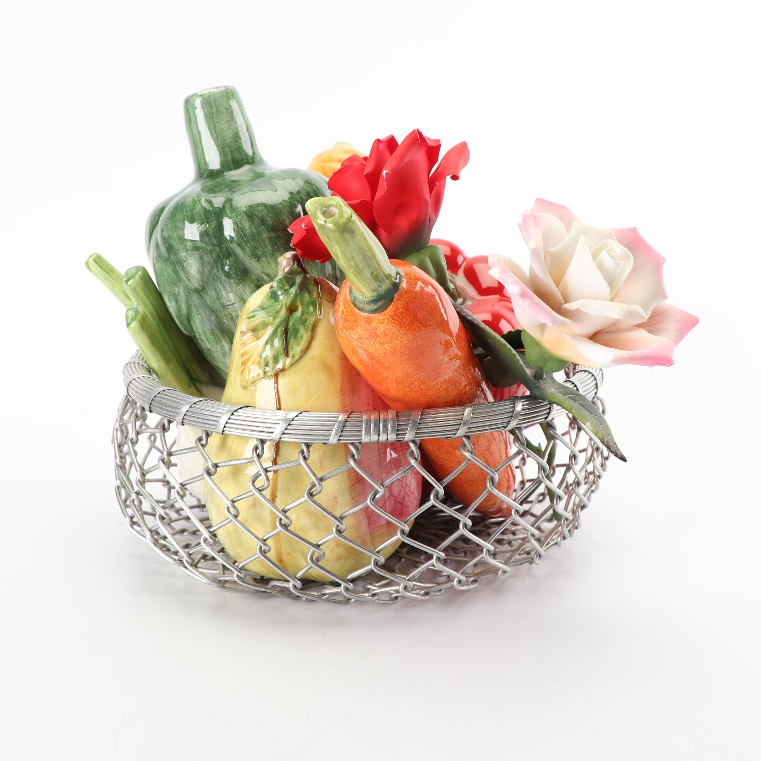 Ceramic Vegetables and Fruit with Flowers in Wire Basket