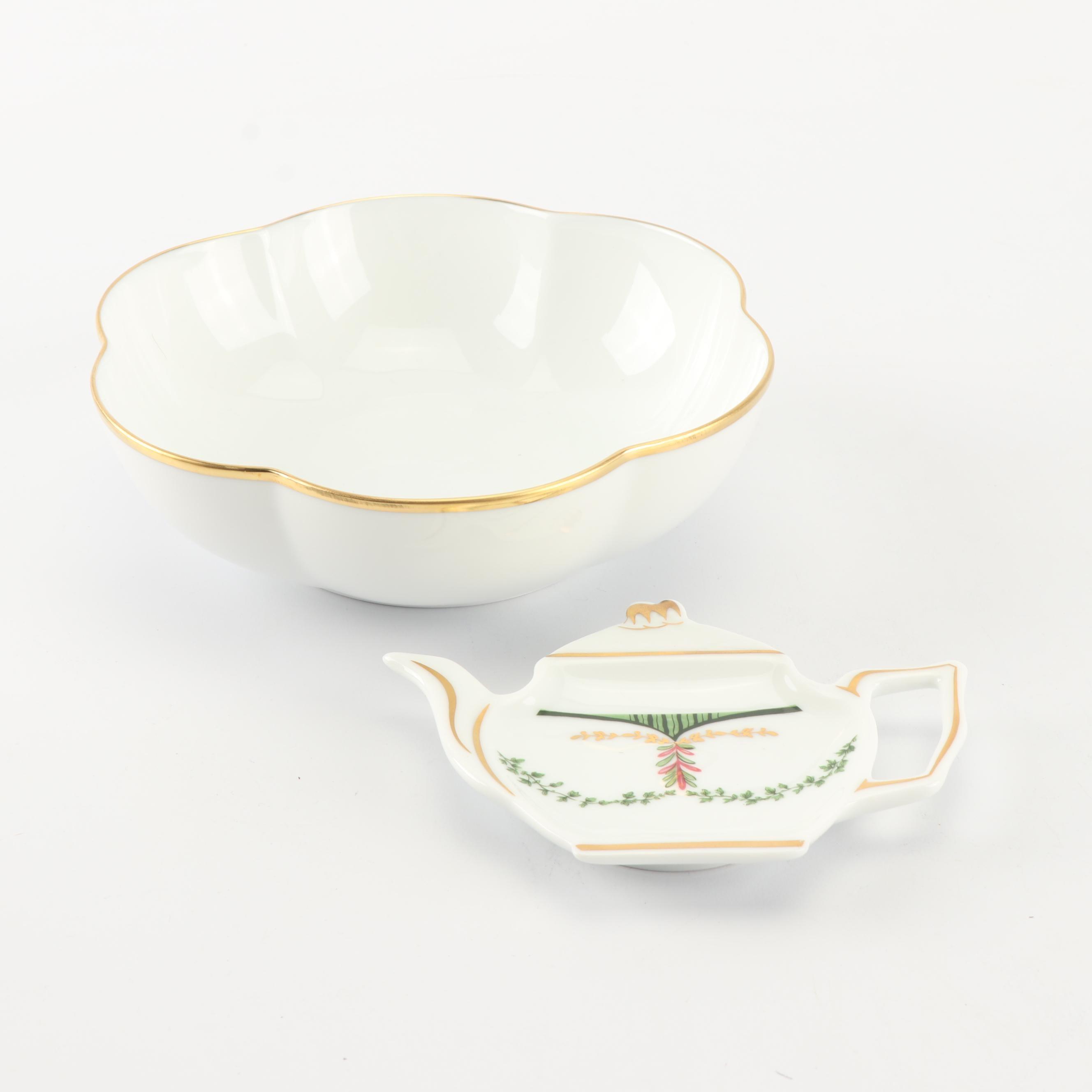 A. Raynaud & Co. Limoges Floriform Bowl and Tea Bag Coaster