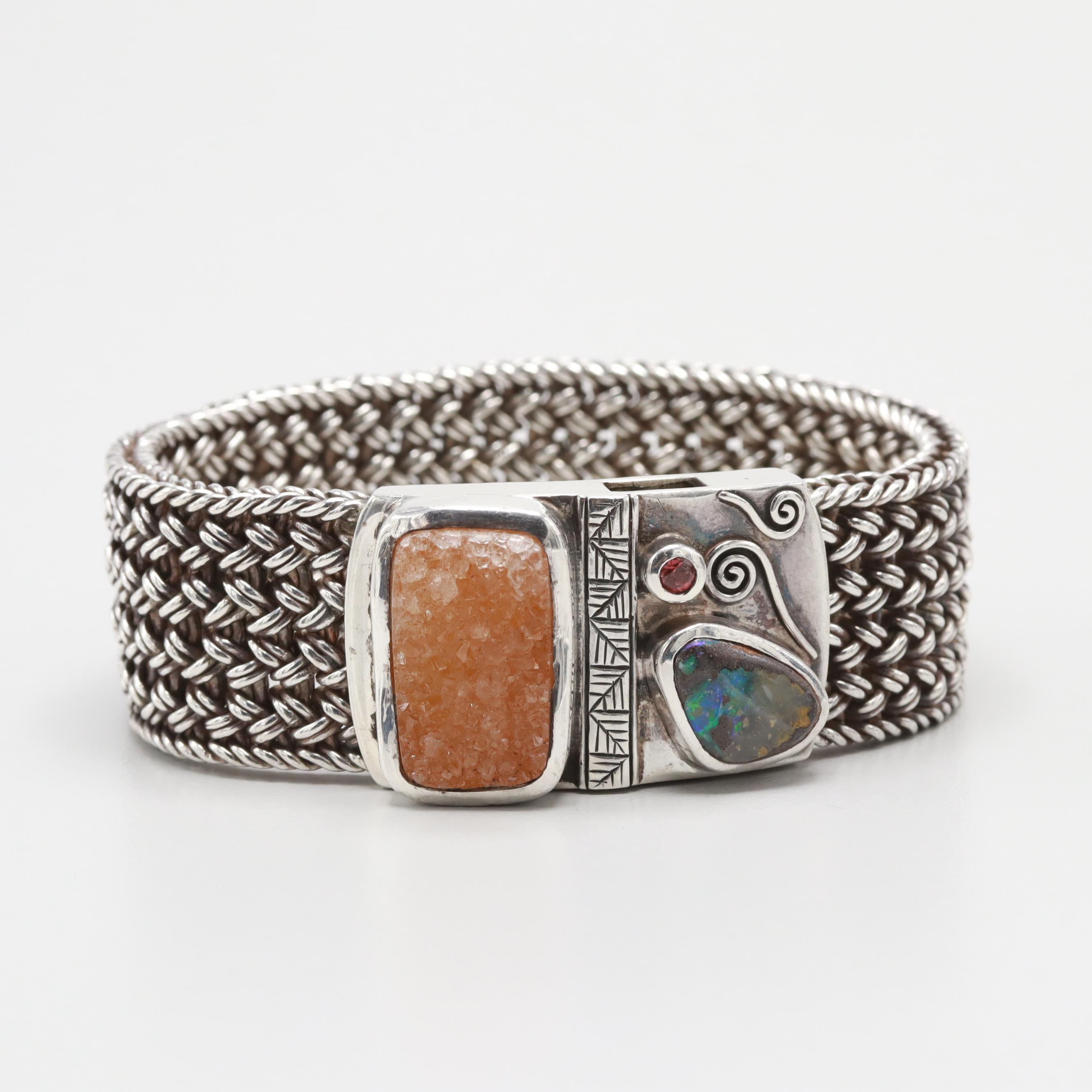 Sterling Silver Druzy, Boulder Opal and Rhodolite Garnet Woven Mesh Bracelet